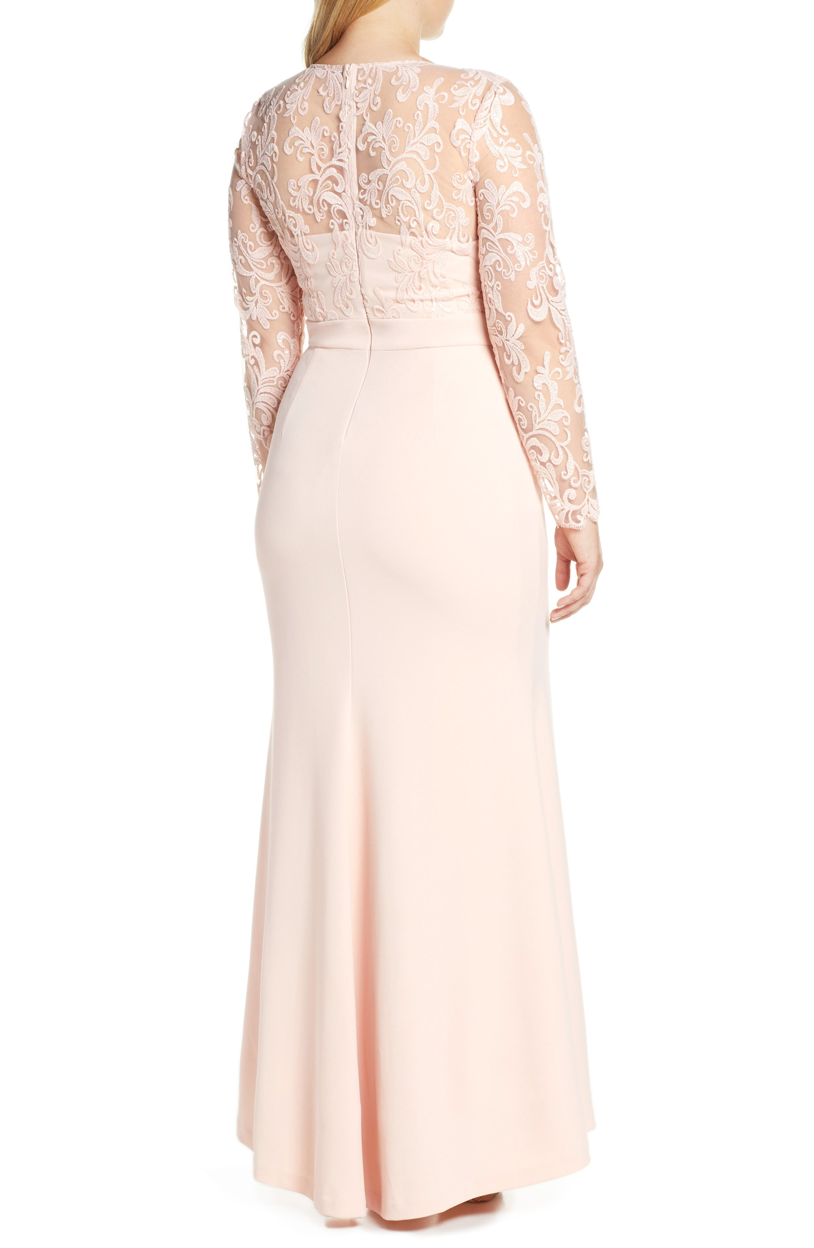 ELIZA J, Embroidered Bodice Crepe Evening Dress, Alternate thumbnail 9, color, BLUSH