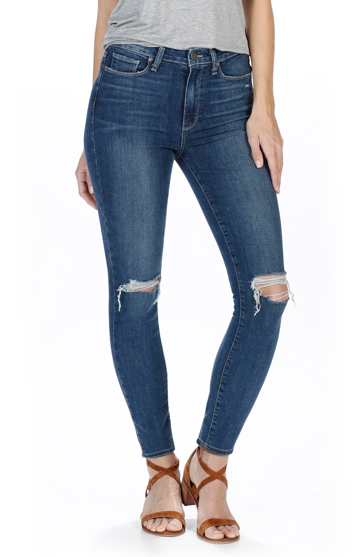 0fea4f07cd PAIGE Margot High Waist Ultra Skinny Jeans (Dedee Destructed)   Nordstrom