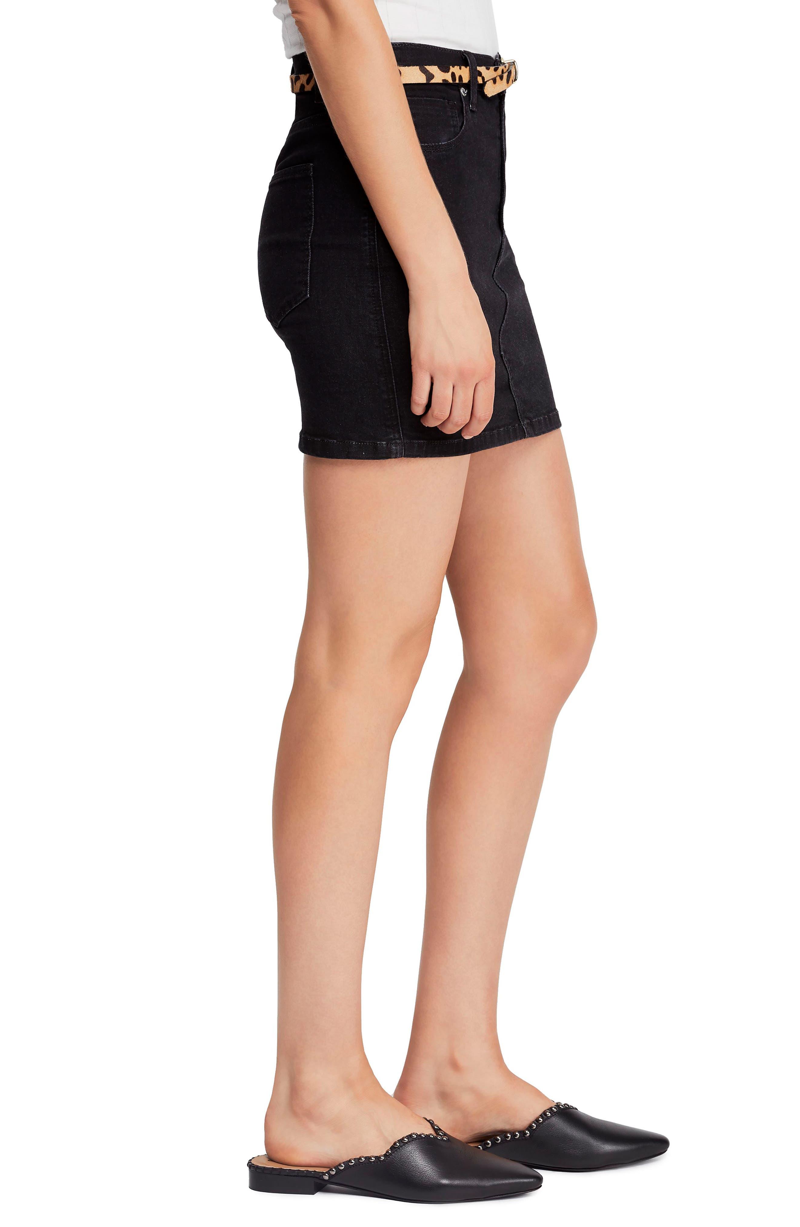 FREE PEOPLE, Teagan Denim Miniskirt, Alternate thumbnail 4, color, BLACK