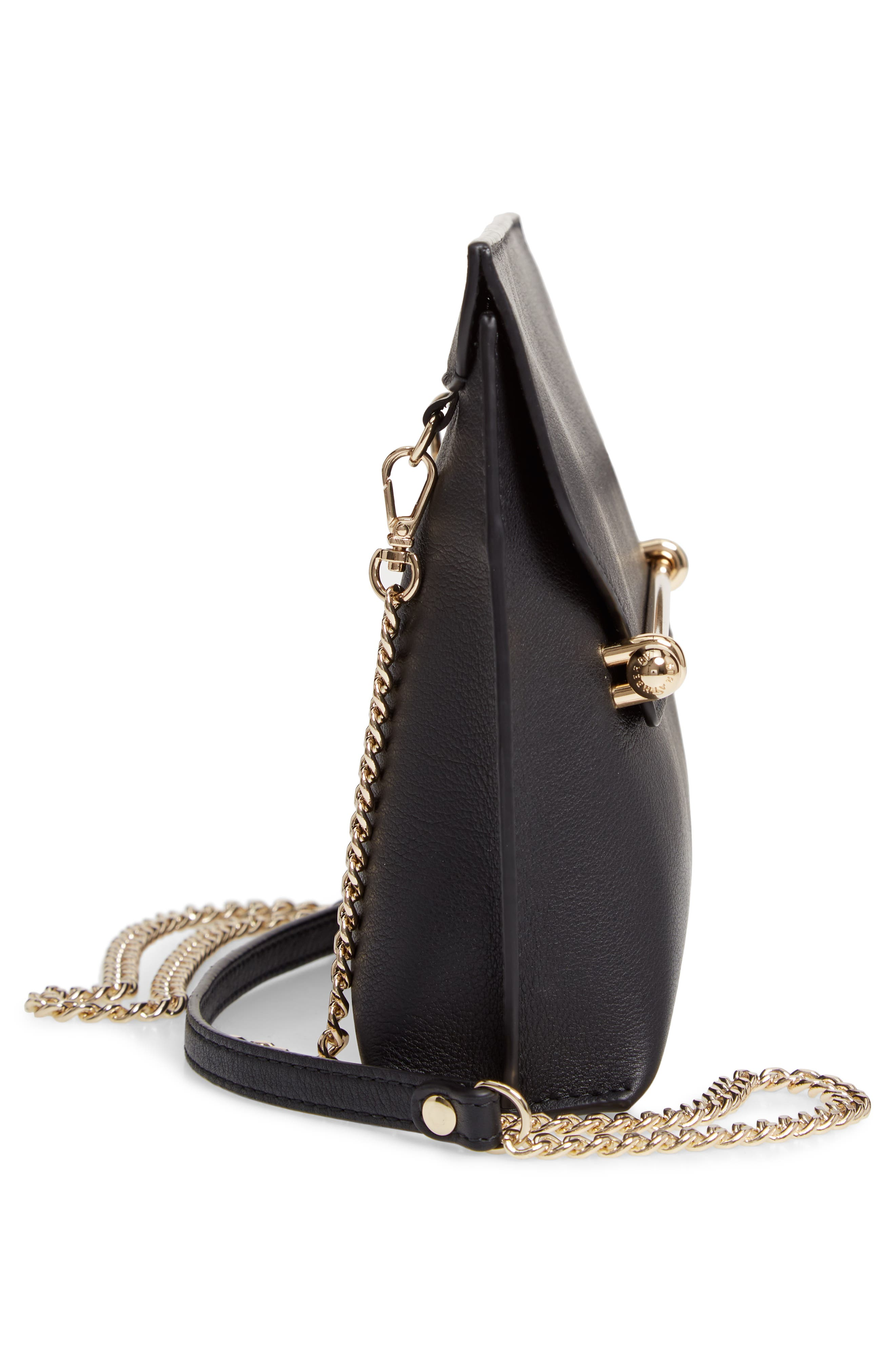 STRATHBERRY, East/West Stylist Calfskin Leather Clutch, Alternate thumbnail 5, color, BLACK