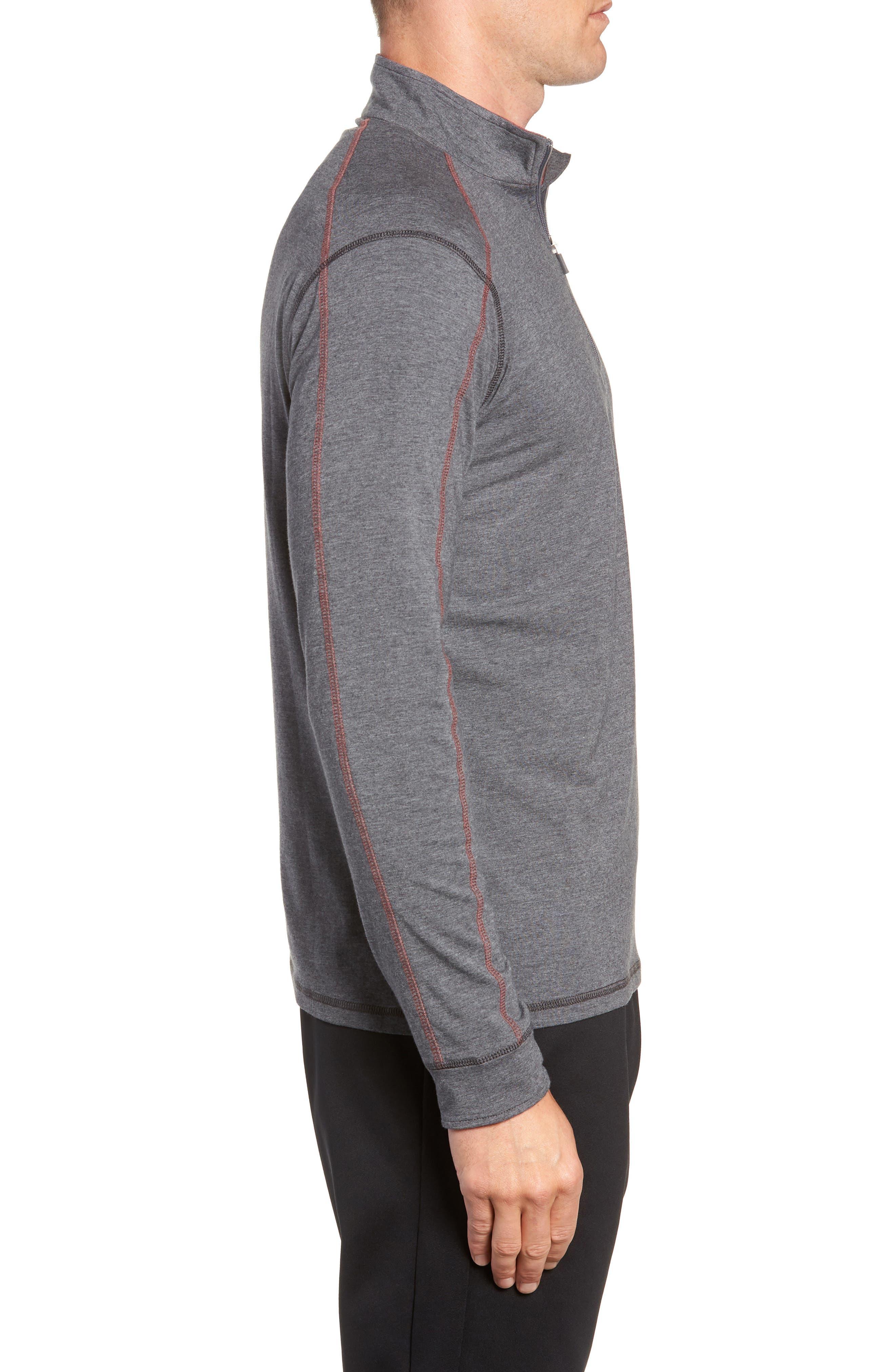 TASC PERFORMANCE, Carrollton Quarter Zip Sweatshirt, Alternate thumbnail 3, color, BLACK HEATHER/ MERCURY