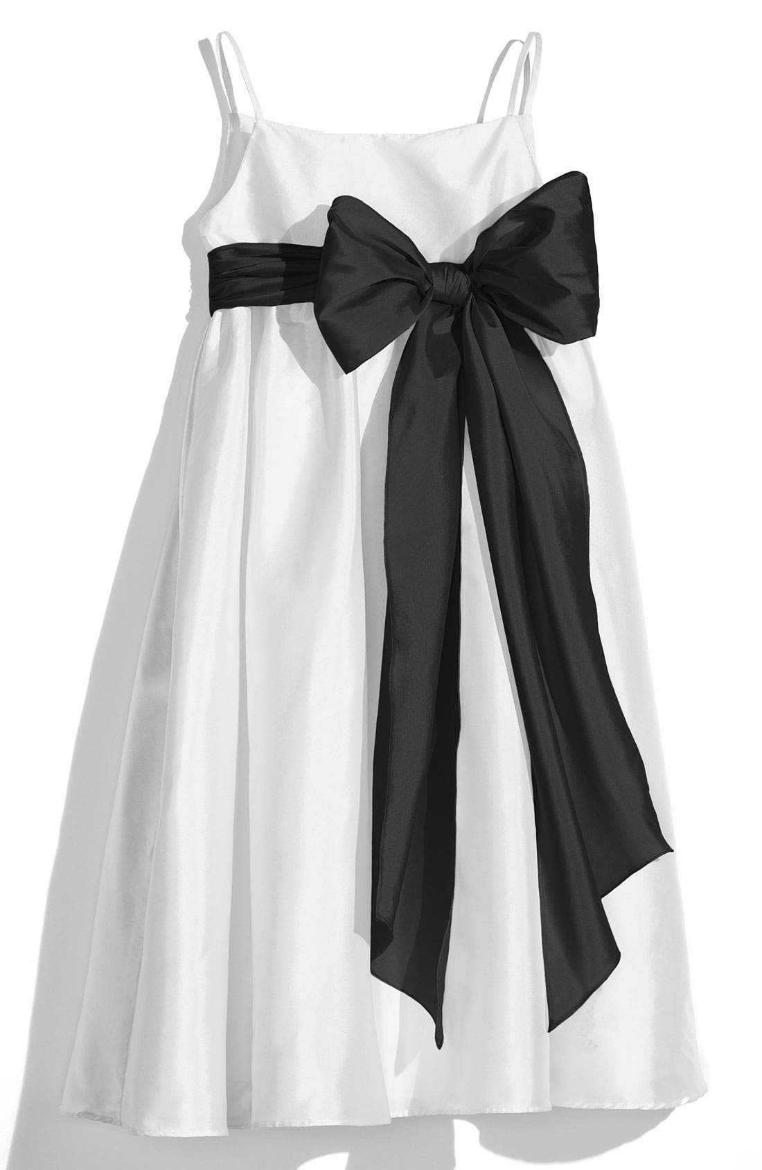 US ANGELS, White Sleeveless Empire Waist Taffeta Dress, Main thumbnail 1, color, 001