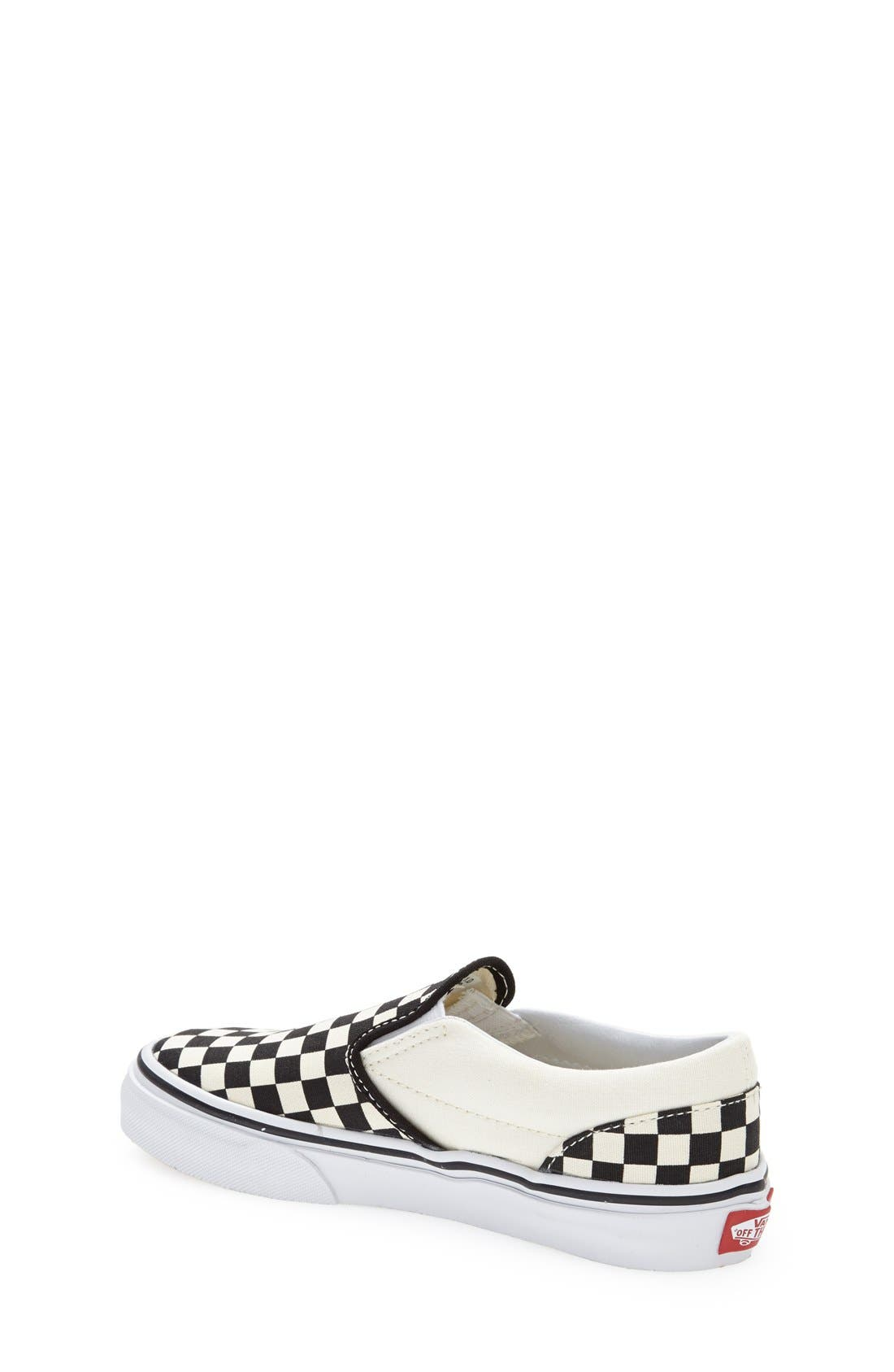 VANS, 'Classic - Checkerboard' Slip-On, Alternate thumbnail 6, color, BLACK/ WHITE CHECKERBOARD