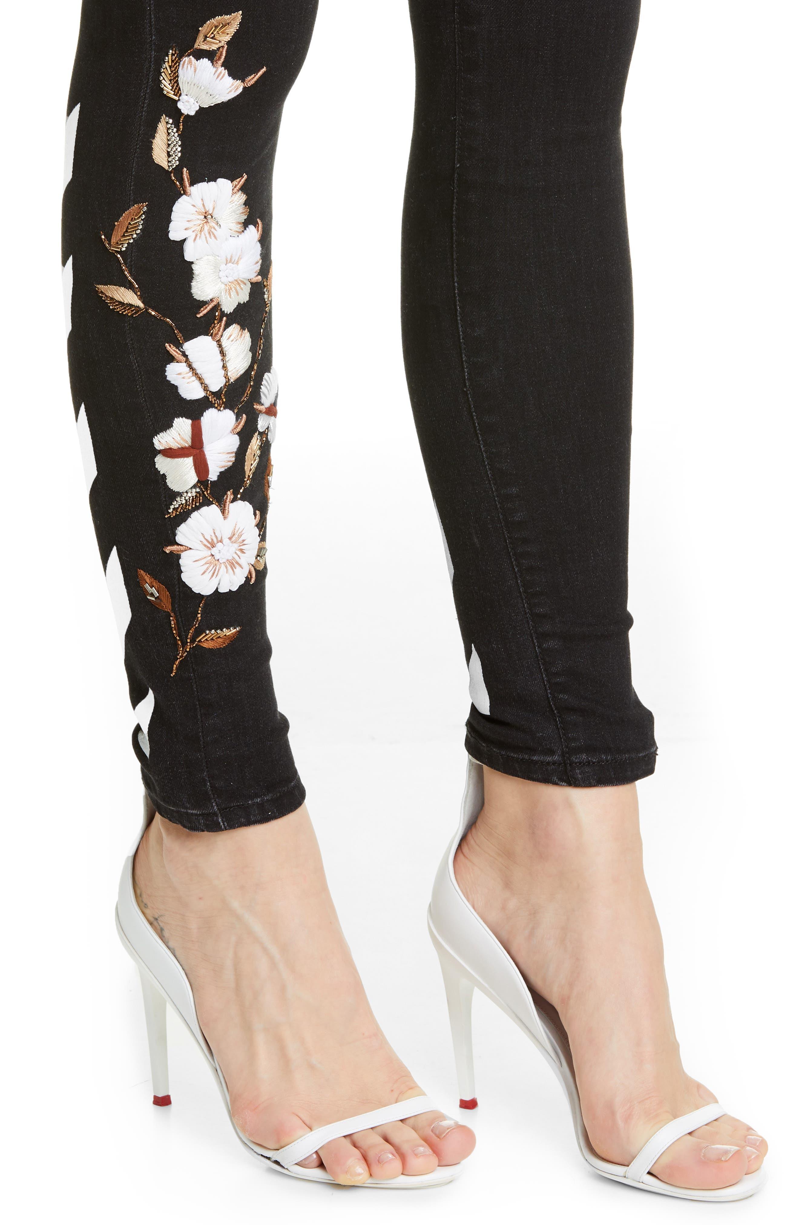 OFF-WHITE, Floral Embroidered Diagonal Stripe Skinny Jeans, Alternate thumbnail 4, color, VINTAGE BLACK