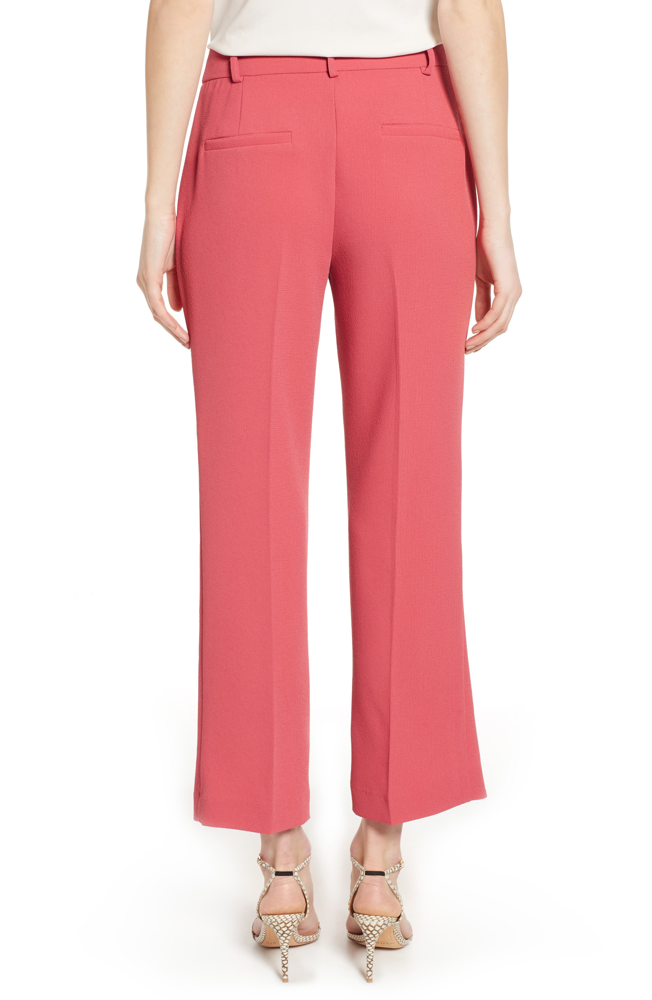 1.STATE, Crepe Kick Flare Ankle Pants, Alternate thumbnail 2, color, CORAL POPPY