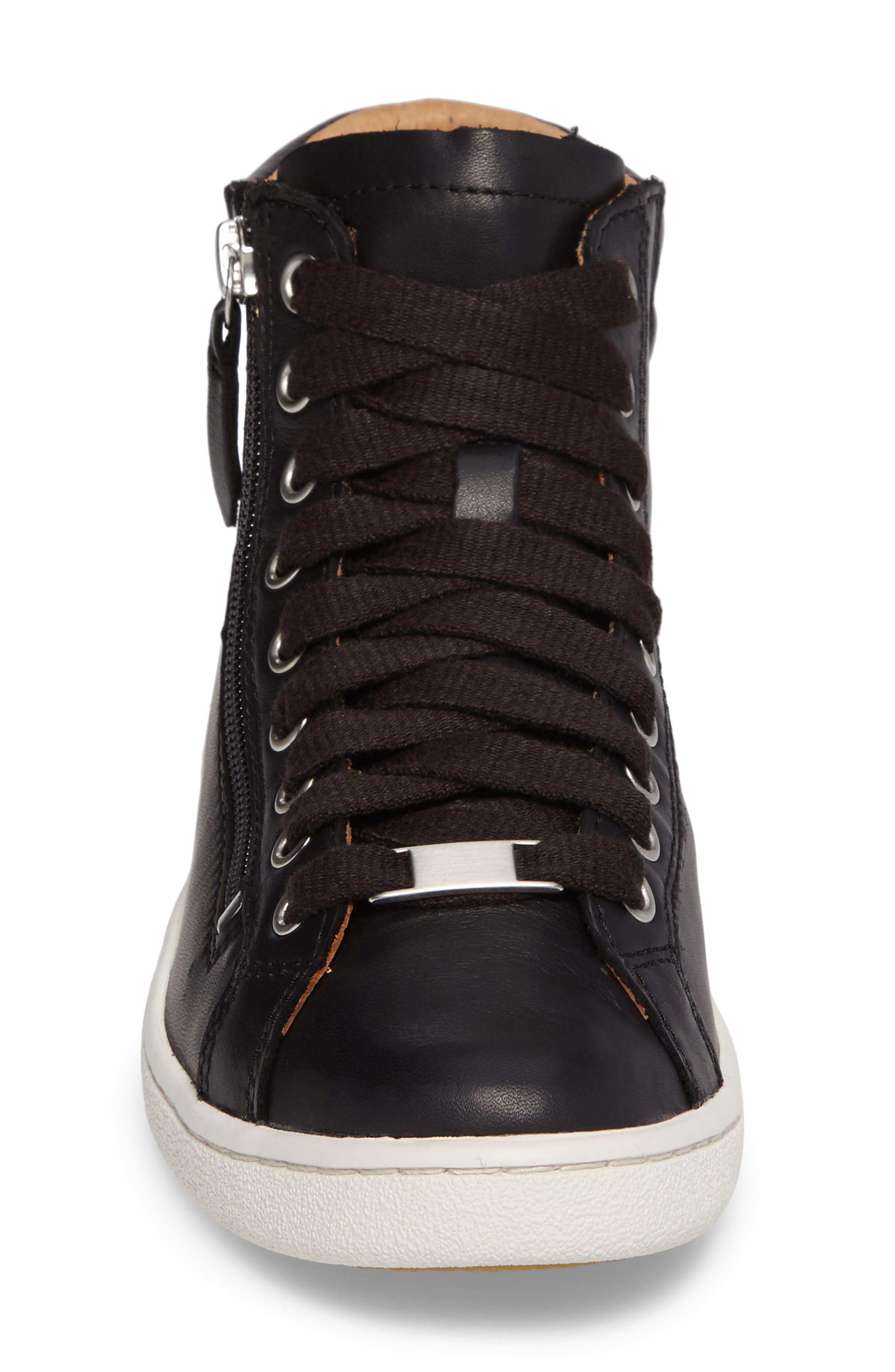 UGG<SUP>®</SUP>, UGG Olive High Top Sneaker, Alternate thumbnail 4, color, BLACK LEATHER
