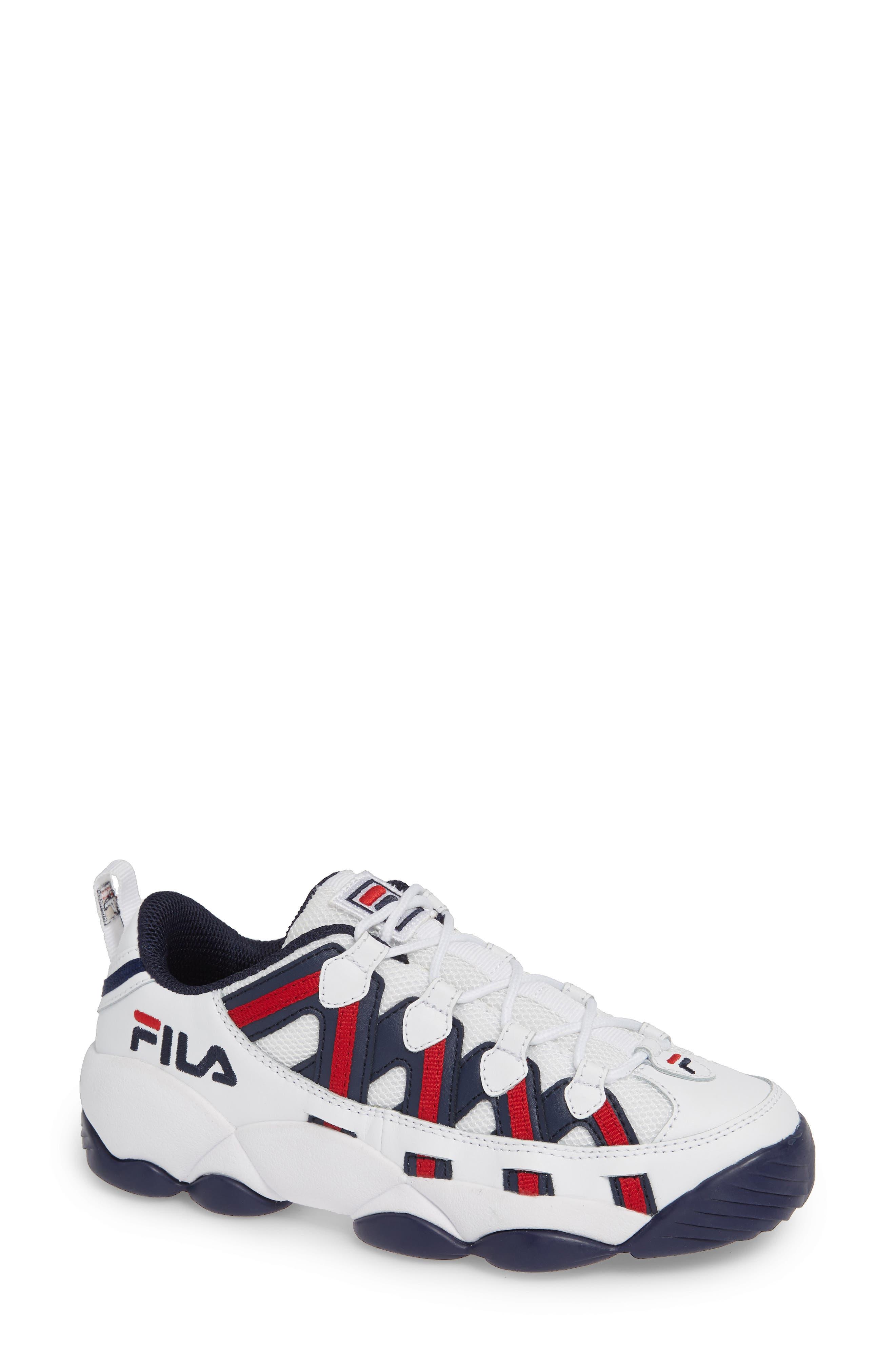 FILA, Spaghetti Low Sneaker, Main thumbnail 1, color, WHITE/ FILA NAVY/ FILA RED