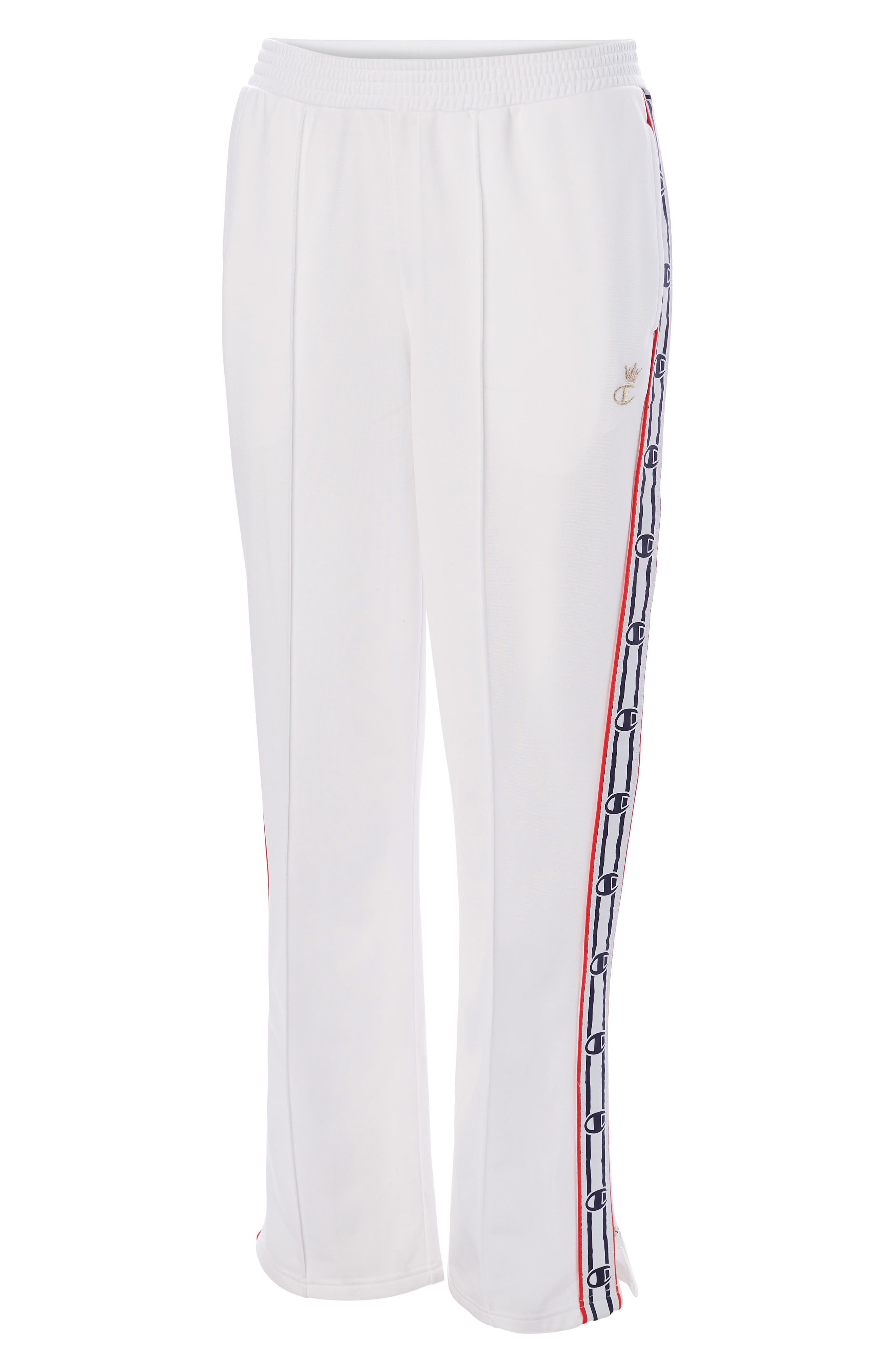 CHAMPION, Logo Tape Track Pants, Alternate thumbnail 5, color, WHITE