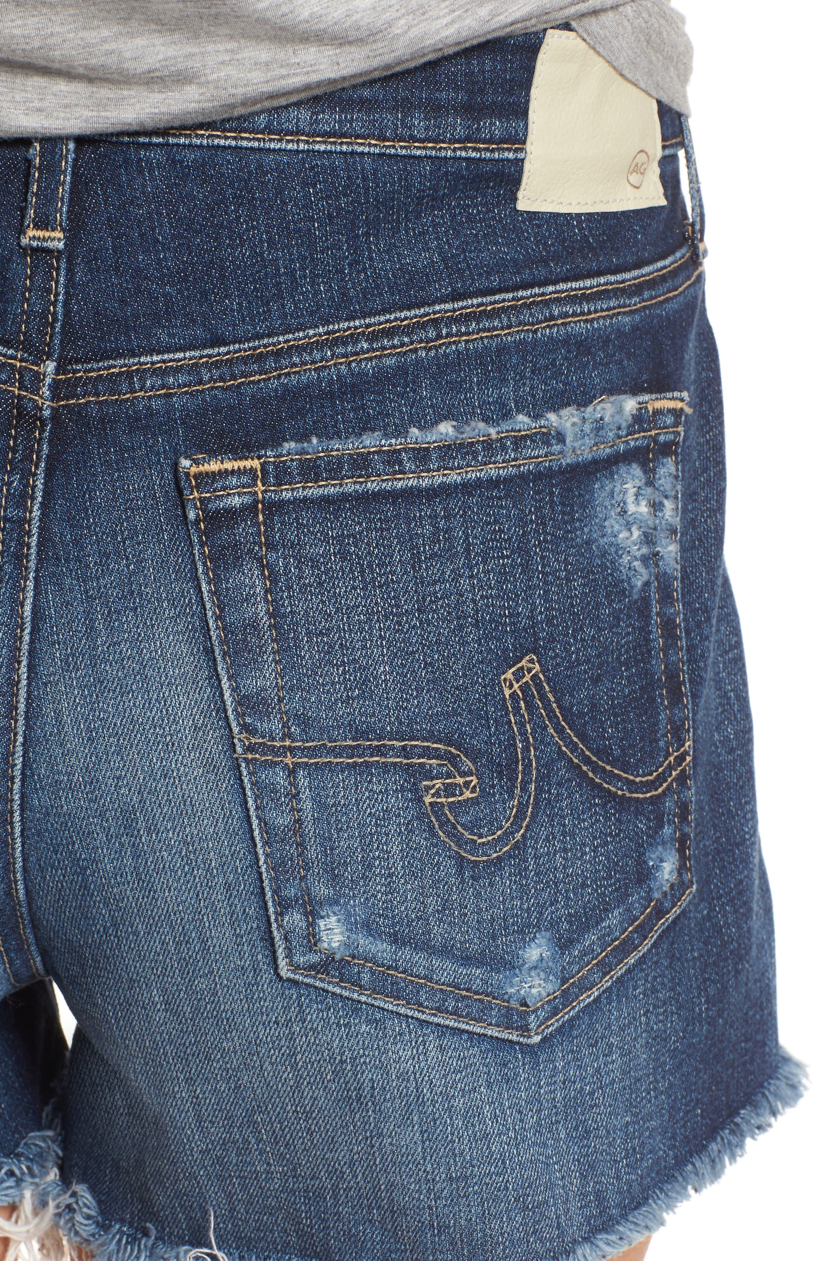 AG, Bryn High Rise Cutoff Denim Shorts, Alternate thumbnail 5, color, 15Y BLUE DELUGE