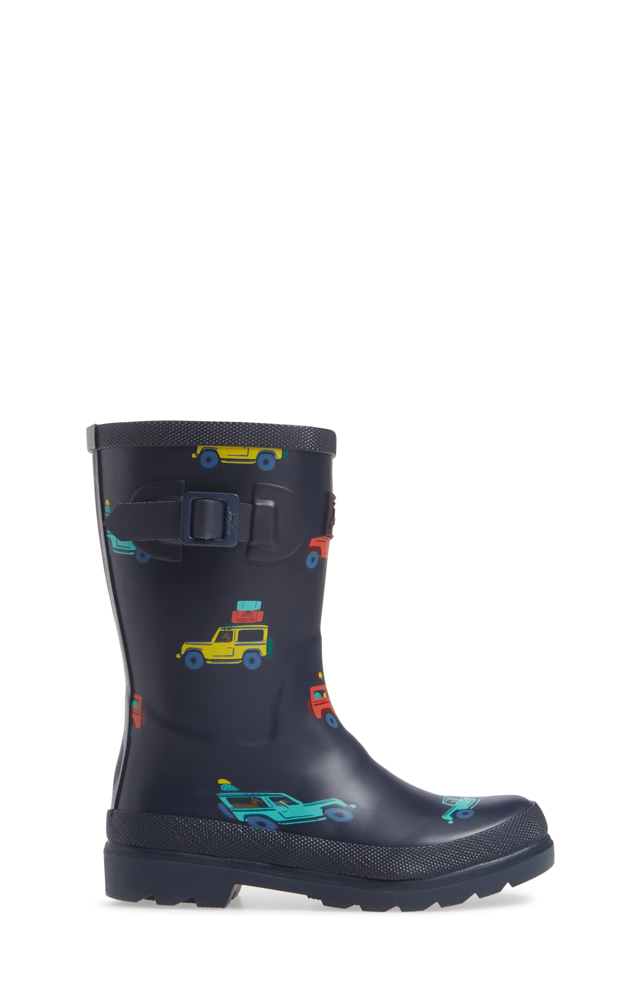 JOULES, Welly Print Waterproof Rain Boot, Alternate thumbnail 3, color, NAVY SCOUT AND ABOUT