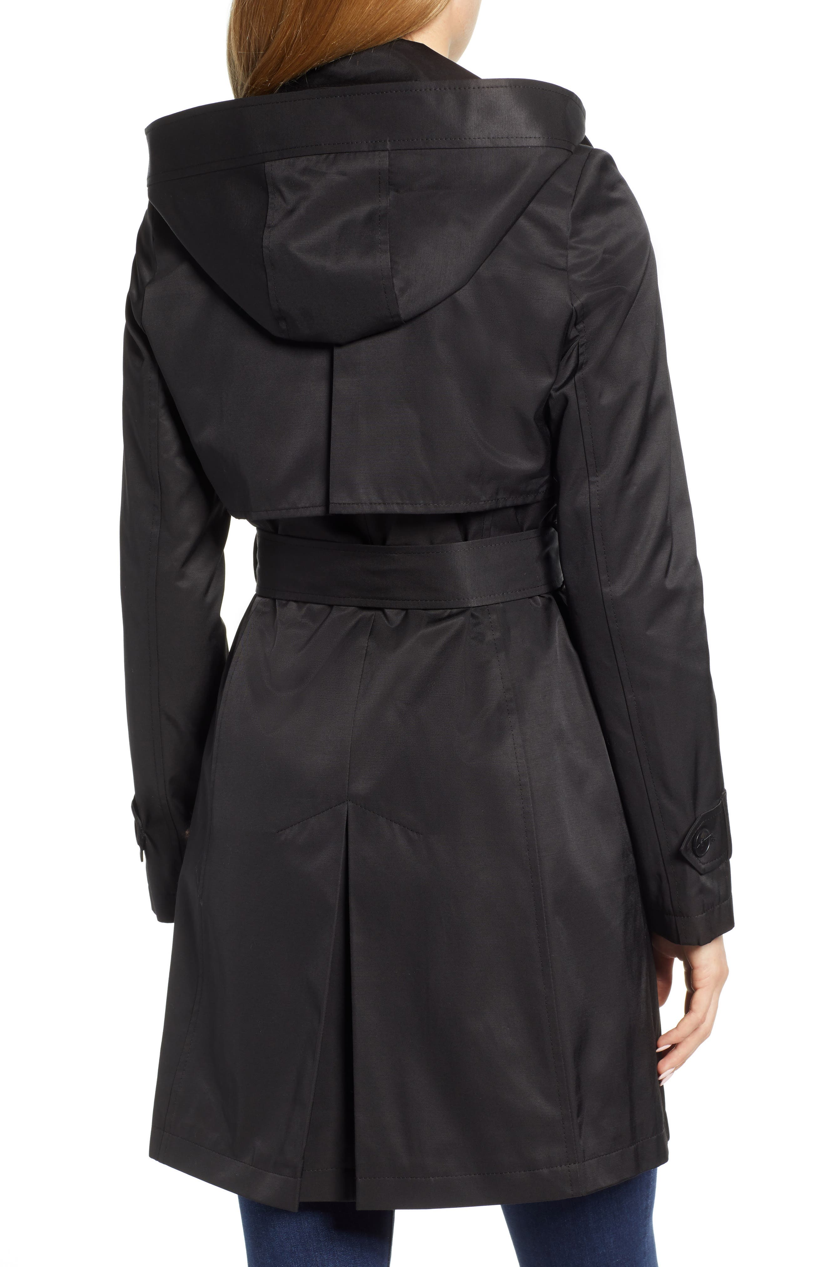 HALOGEN<SUP>®</SUP>, Hooded Trench Coat, Alternate thumbnail 2, color, BLACK