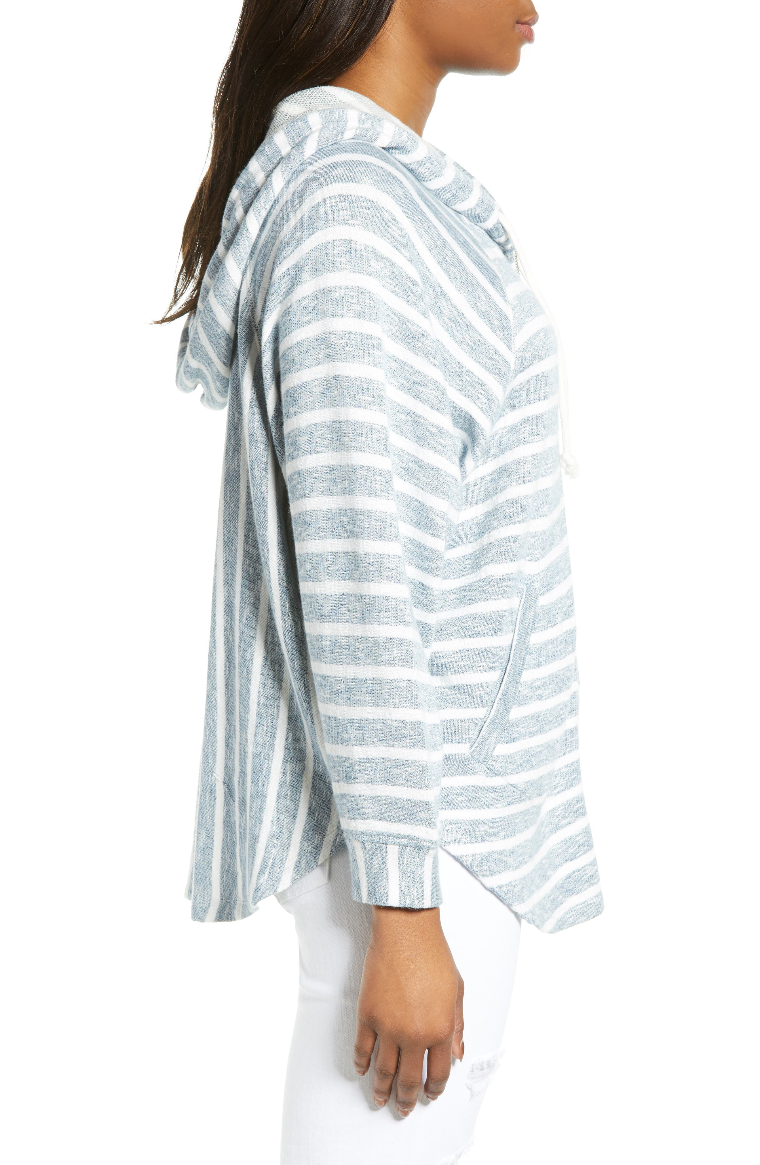 LUCKY BRAND, Striped Hooded Poncho, Alternate thumbnail 3, color, BLUE MULTI