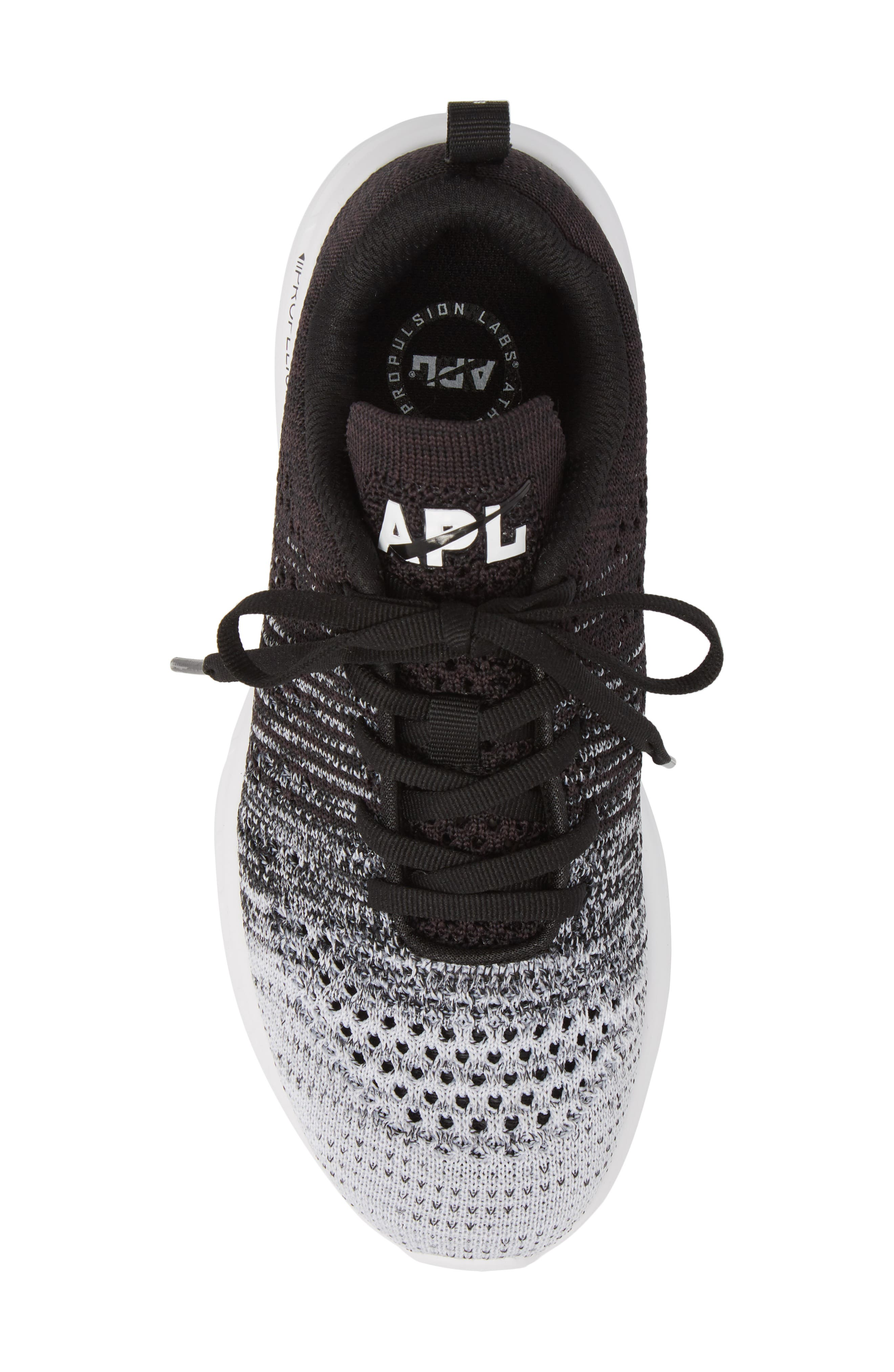 APL, TechLoom Pro Knit Running Shoe, Alternate thumbnail 5, color, WHITE/ HEATHER GREY/ BLACK