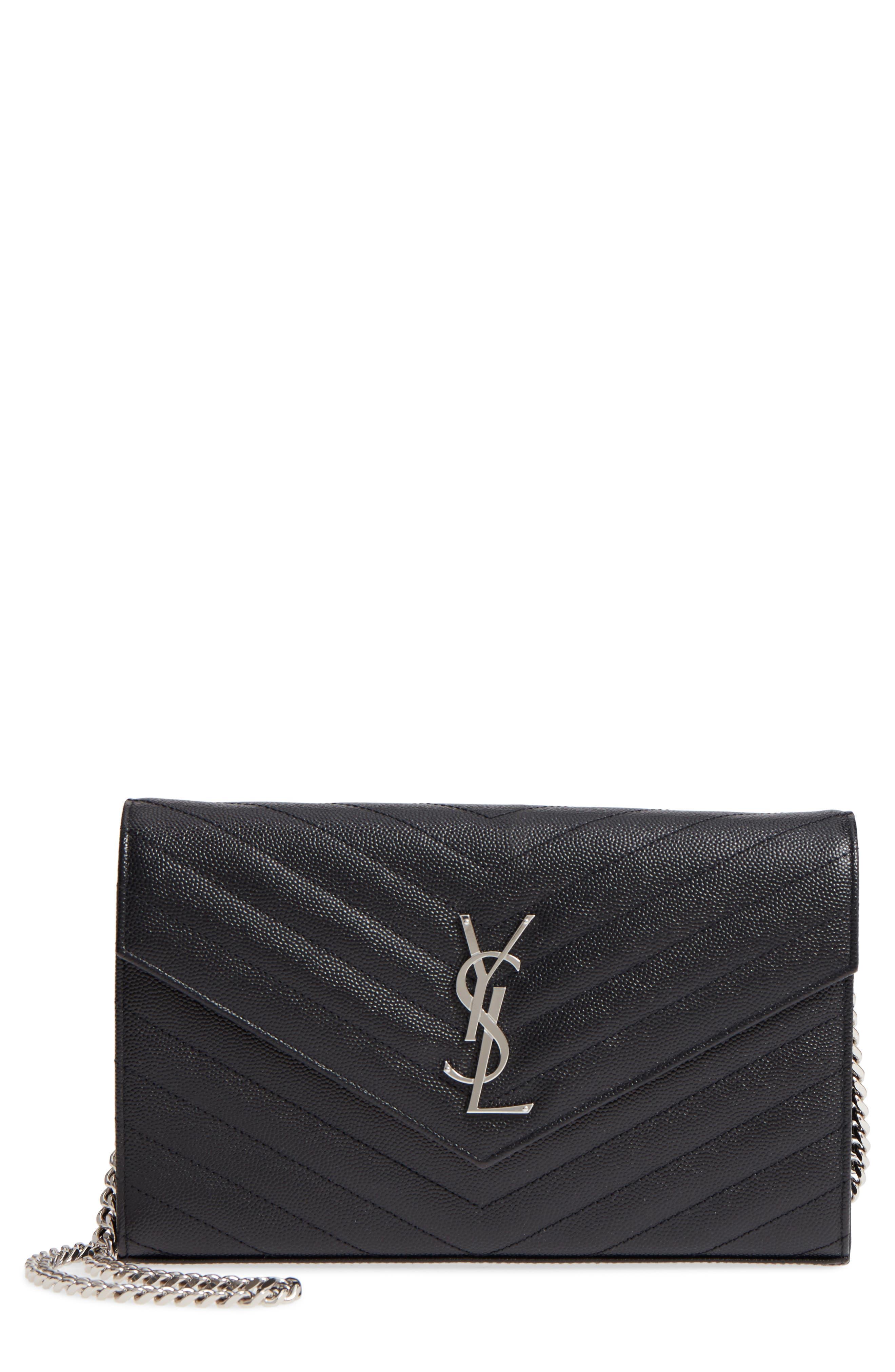SAINT LAURENT 'Monogram' Wallet on a Chain, Main, color, NOIR