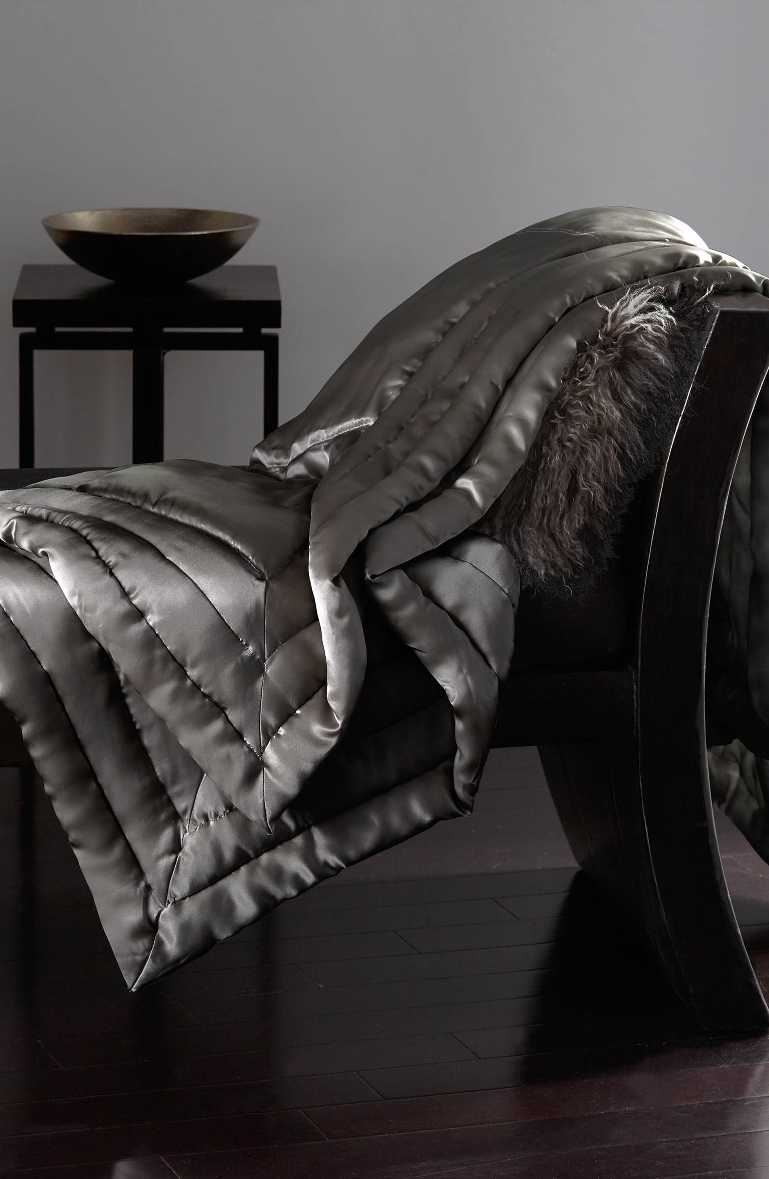 DONNA KARAN NEW YORK, Silk Throw, Main thumbnail 1, color, CHARCOAL