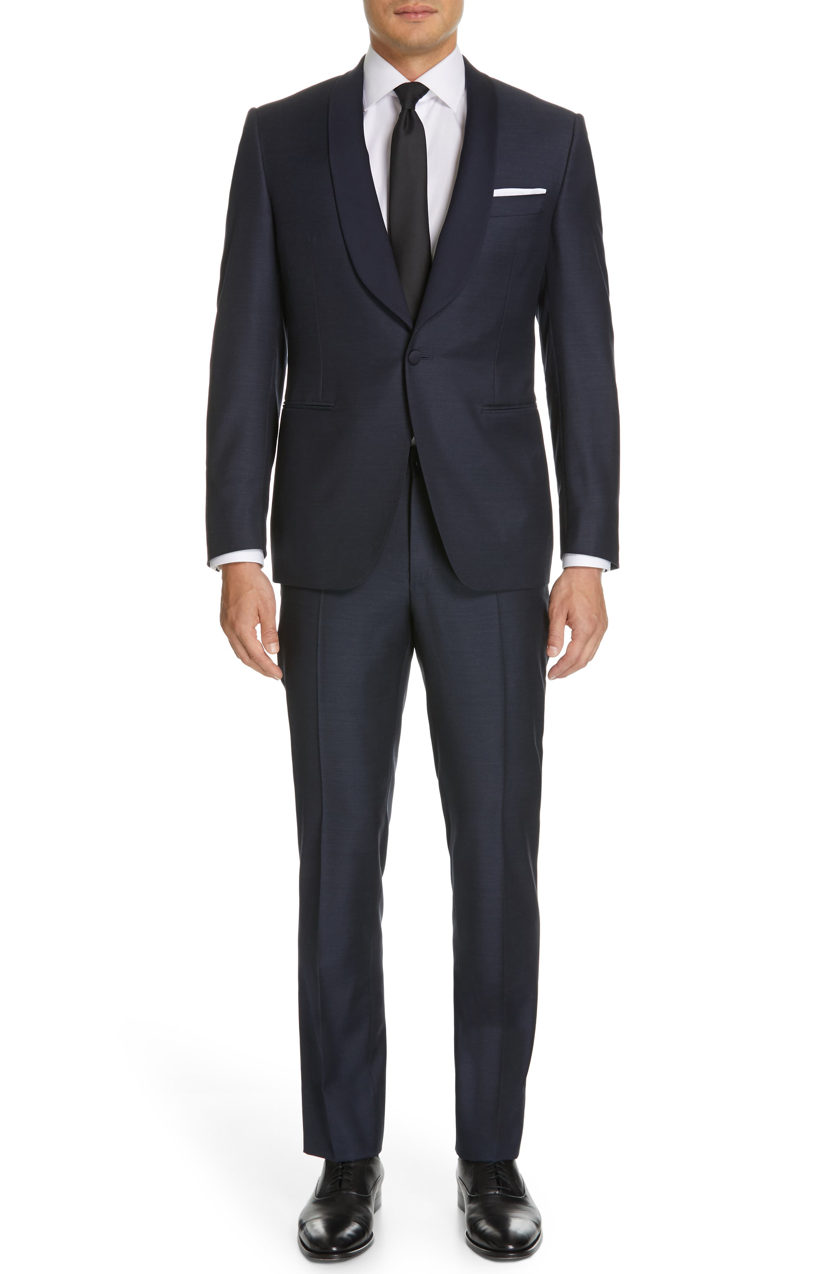CANALI, Venieza Classic Fit Wool Tuxedo, Main thumbnail 1, color, NAVY