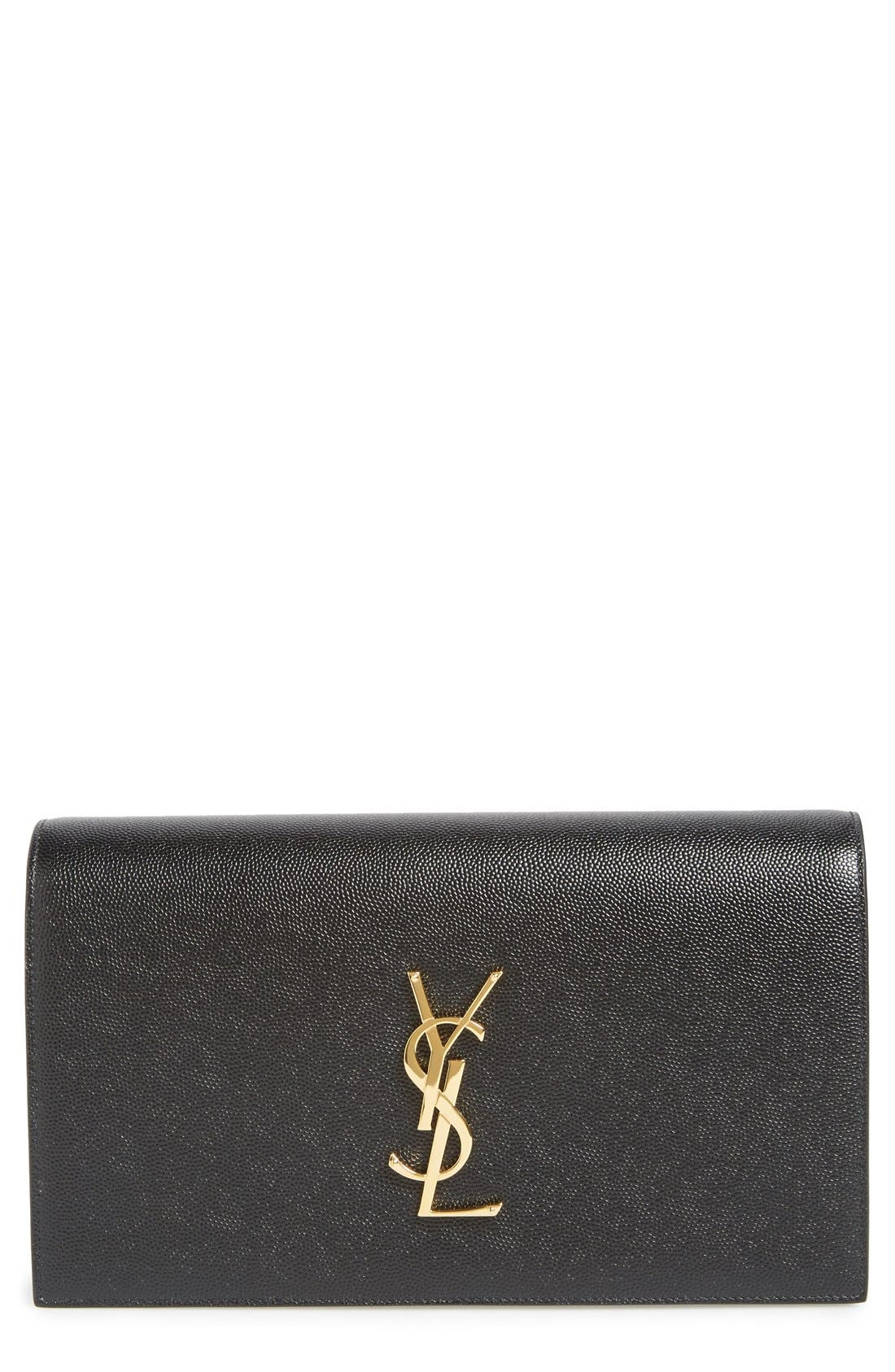 SAINT LAURENT, 'Monogram' Leather Clutch, Main thumbnail 1, color, NOIR