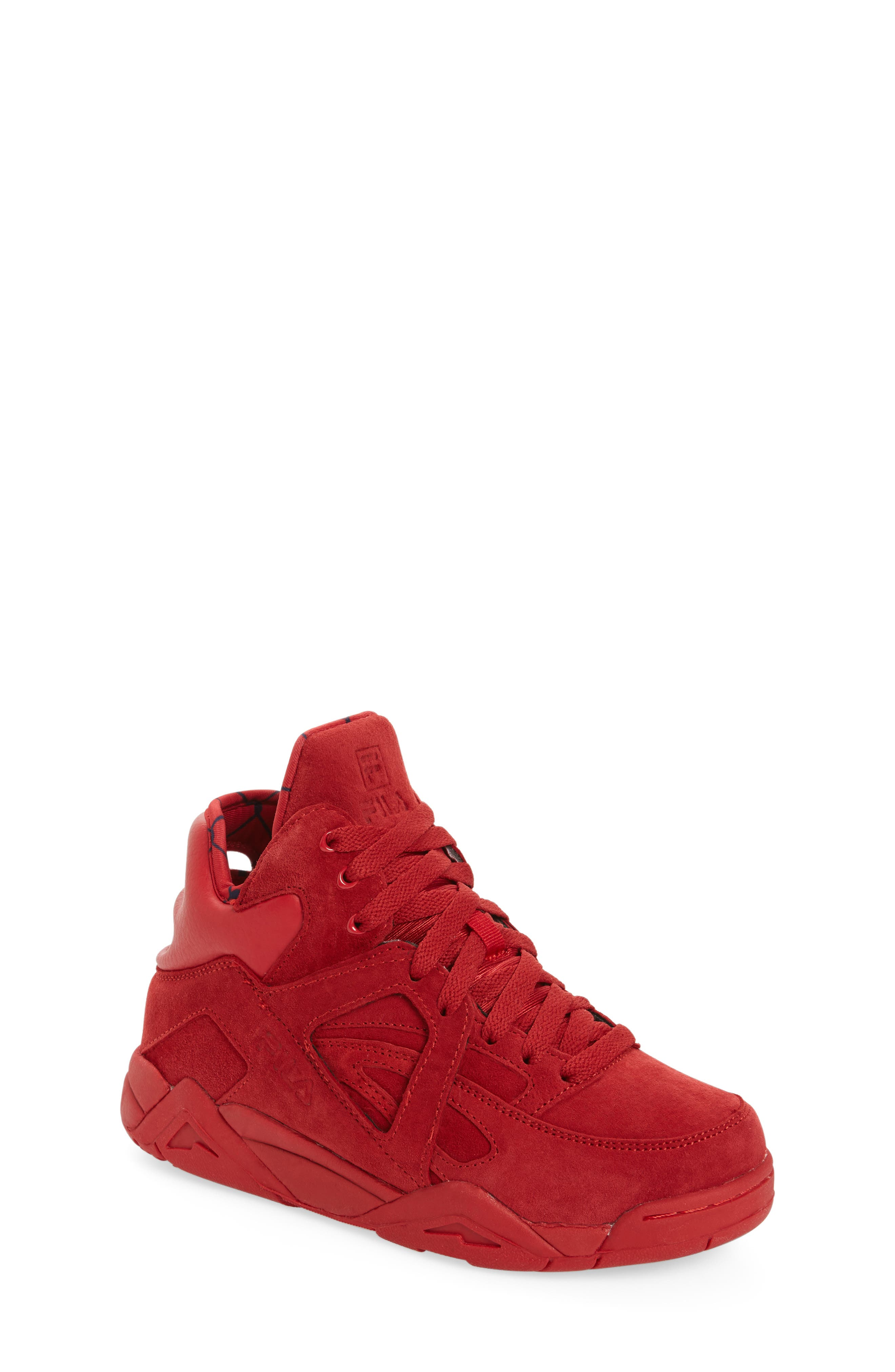 FILA, The Cage High Top Sneaker, Main thumbnail 1, color, RED SUEDE