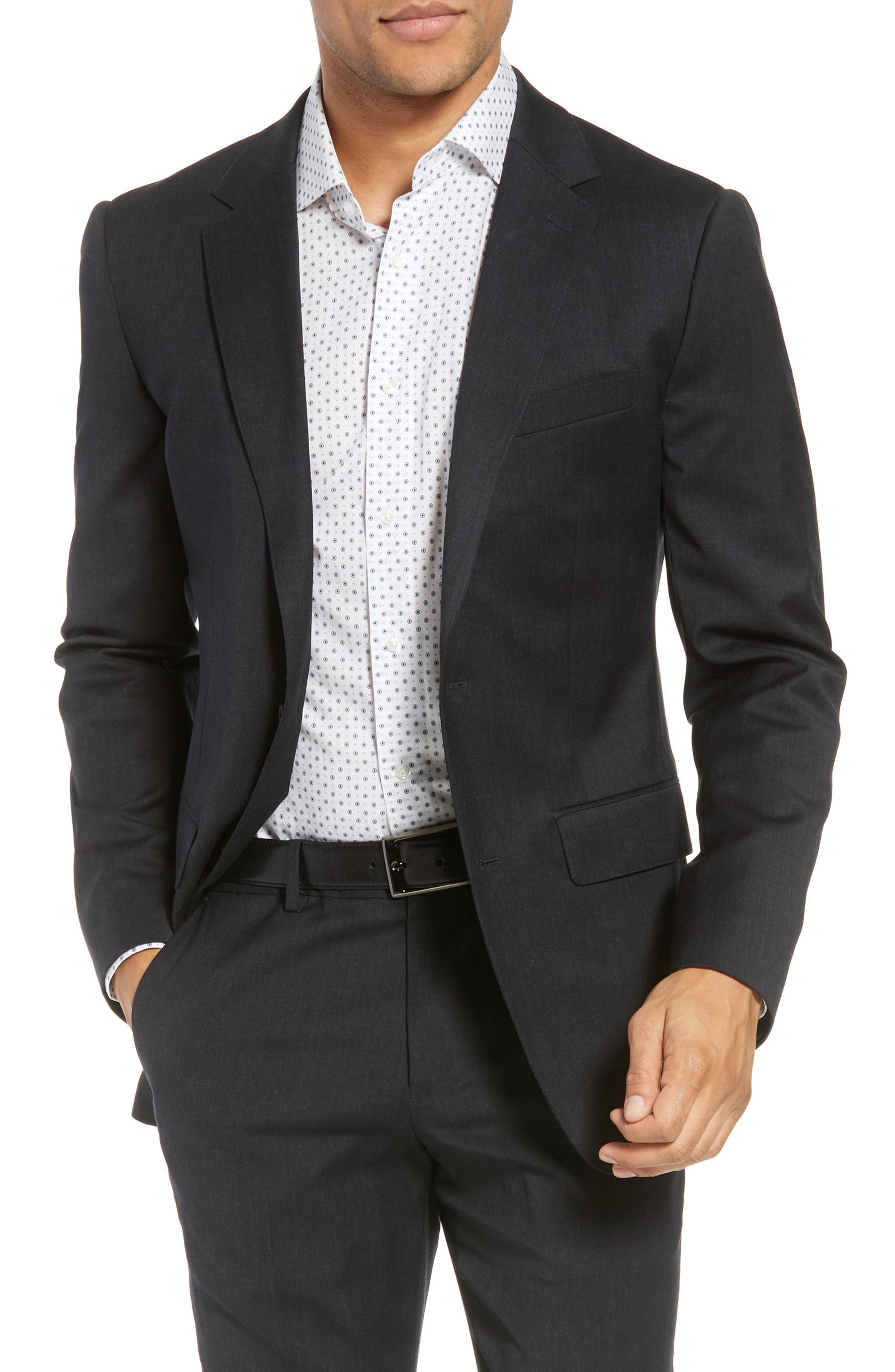 BONOBOS Jetsetter Slim Fit Stretch Wool Blazer, Main, color, CHARCOAL