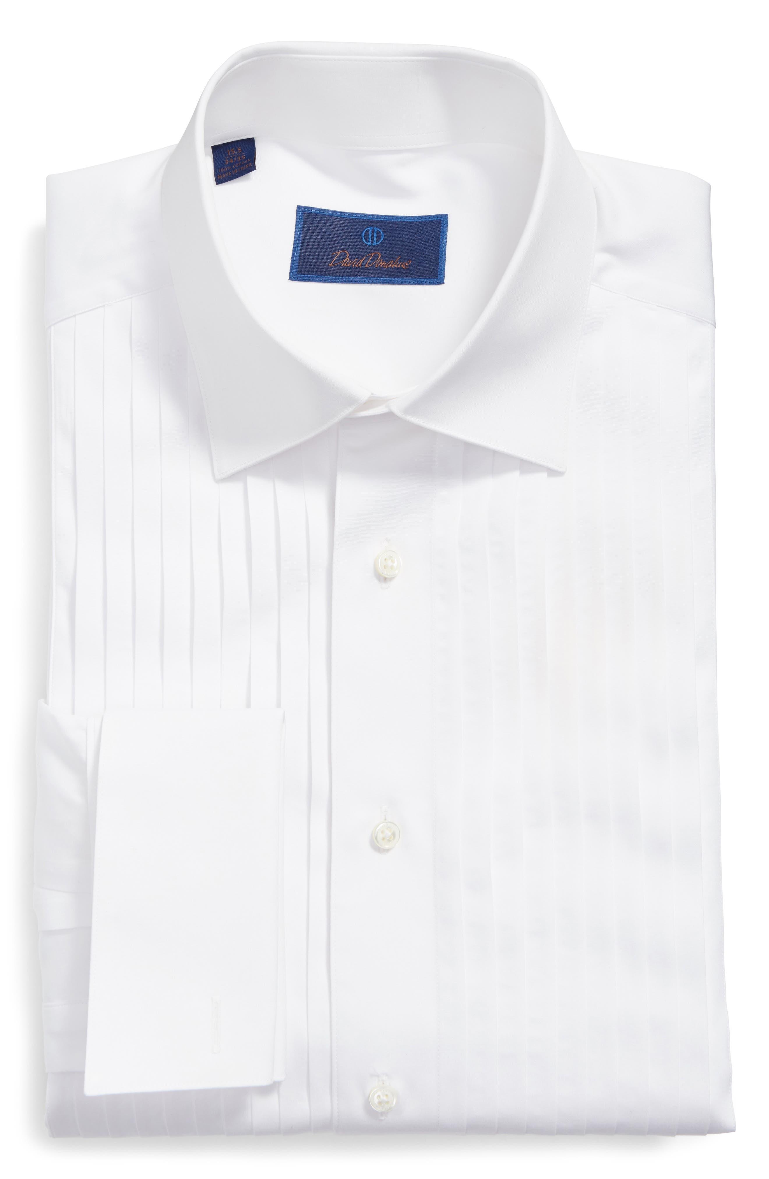 DAVID DONAHUE, Regular Fit French Cuff Tuxedo Shirt, Main thumbnail 1, color, WHITE