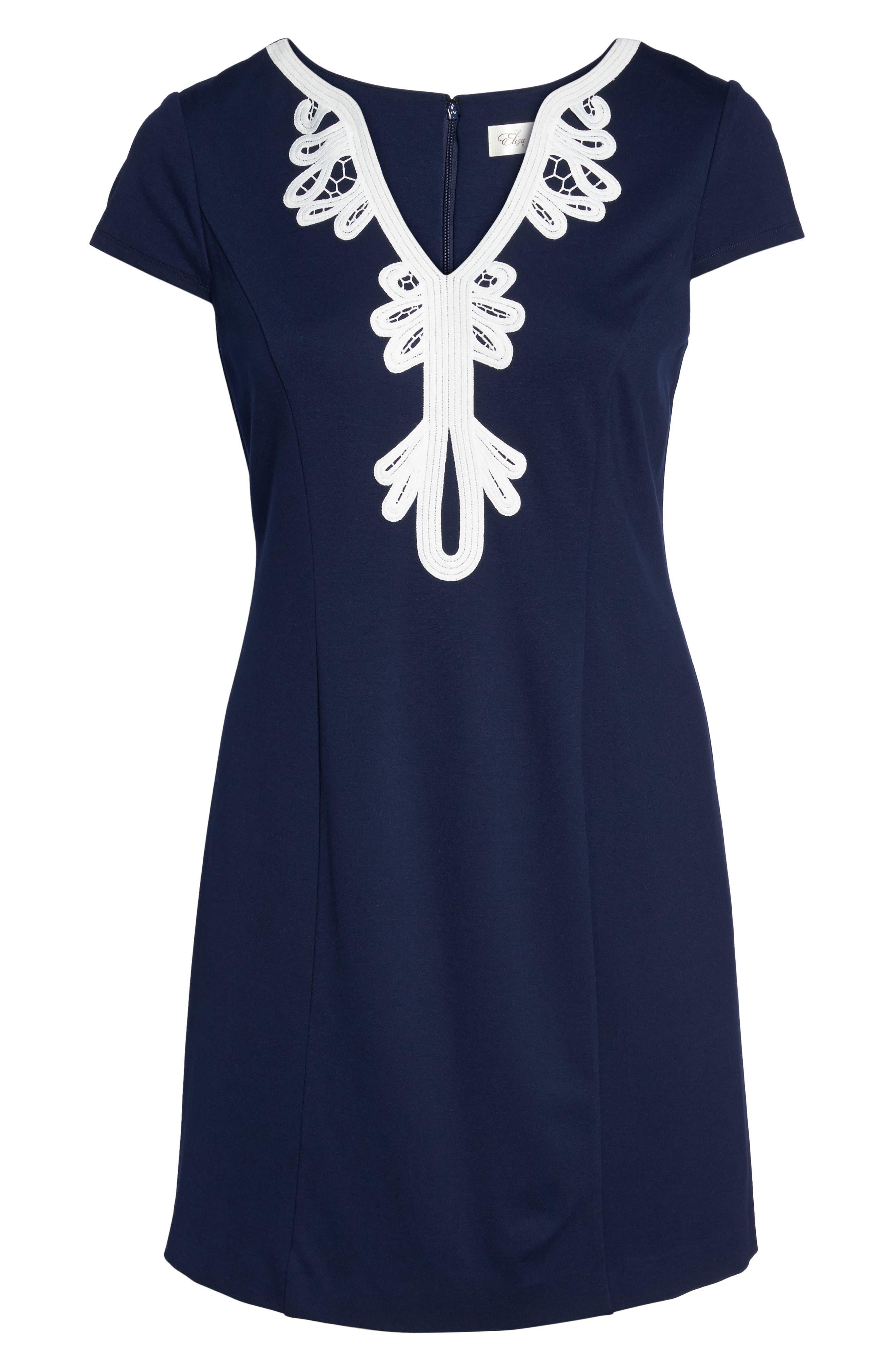 ELIZA J, Embroidered Ponte Sheath Dress, Alternate thumbnail 7, color, 410