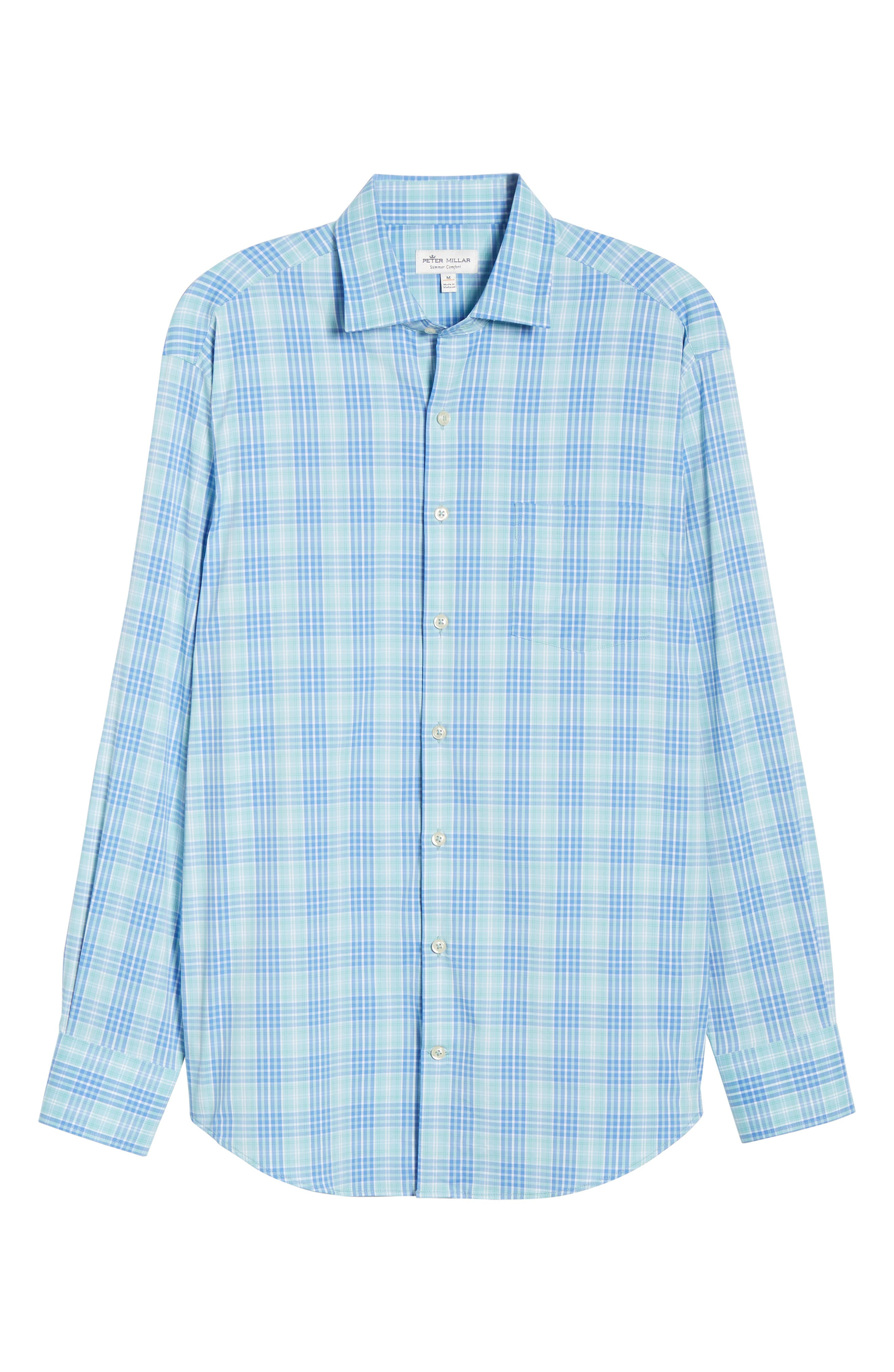 PETER MILLAR, Waterson Plaid Performance Sport Shirt, Alternate thumbnail 5, color, OASIS