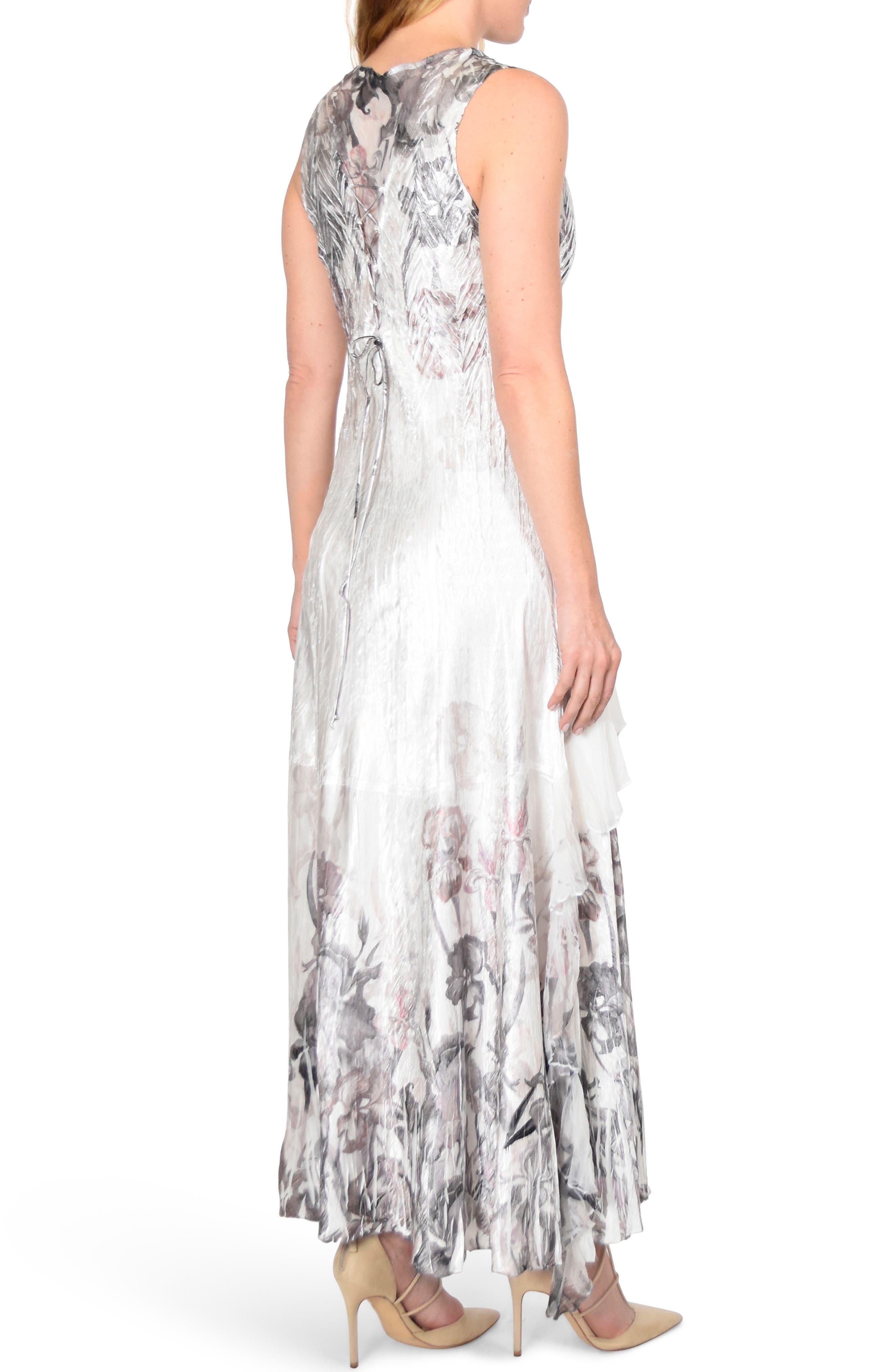 KOMAROV, Charmeuse Dress with Wrap, Alternate thumbnail 2, color, IRIS GARDEN