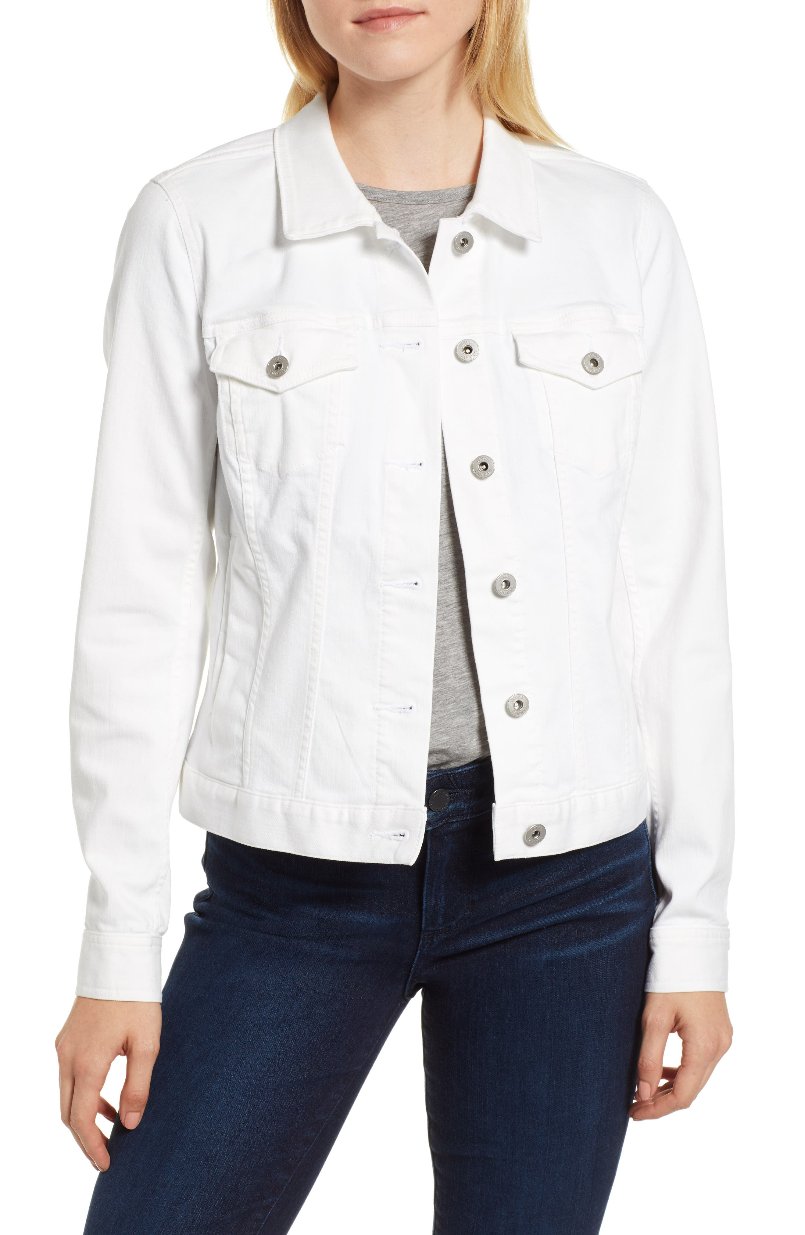 VINCE CAMUTO, Two by Vince Camuto Denim Jacket, Main thumbnail 1, color, ULTRA WHITE