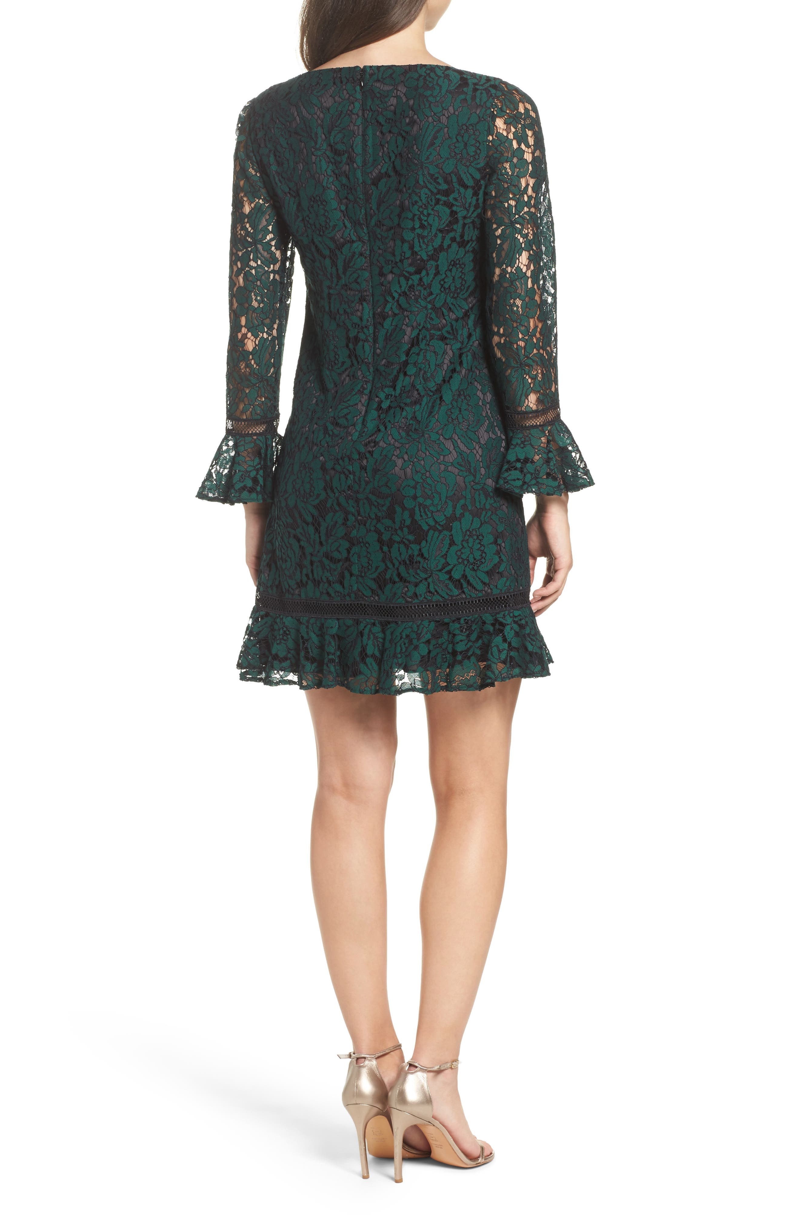 ELIZA J, Bell Sleeve Lace Shift Dress, Alternate thumbnail 2, color, HUNTER