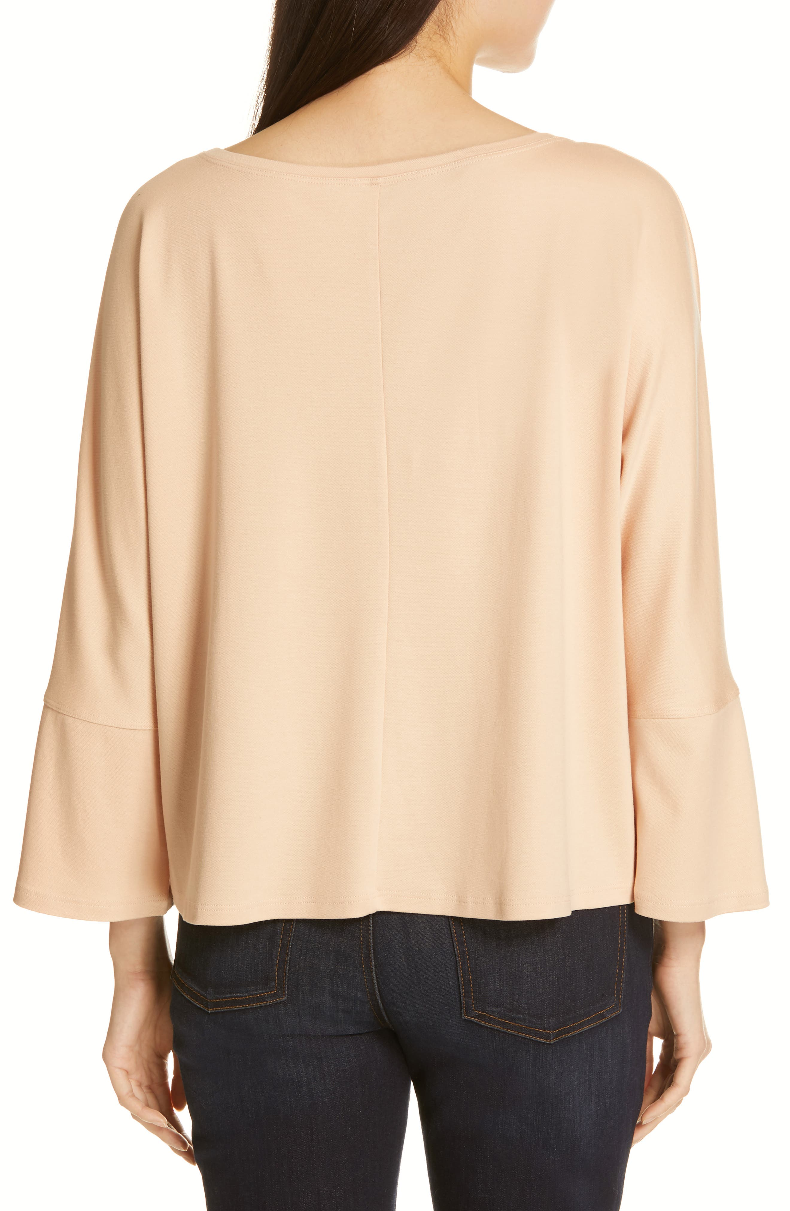 EILEEN FISHER, Bell Sleeve Top, Alternate thumbnail 2, color, ROSE WATER