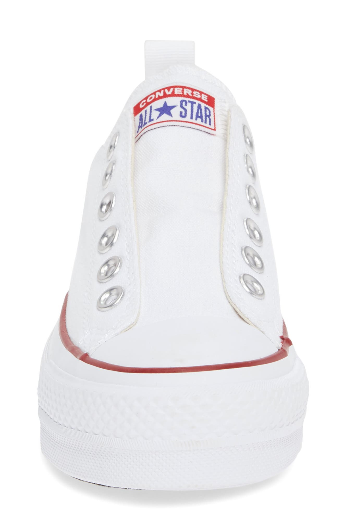 CONVERSE, Chuck Taylor<sup>®</sup> All Star<sup>®</sup> Low Top Sneaker, Alternate thumbnail 4, color, WHITE/ RED/ BLUE