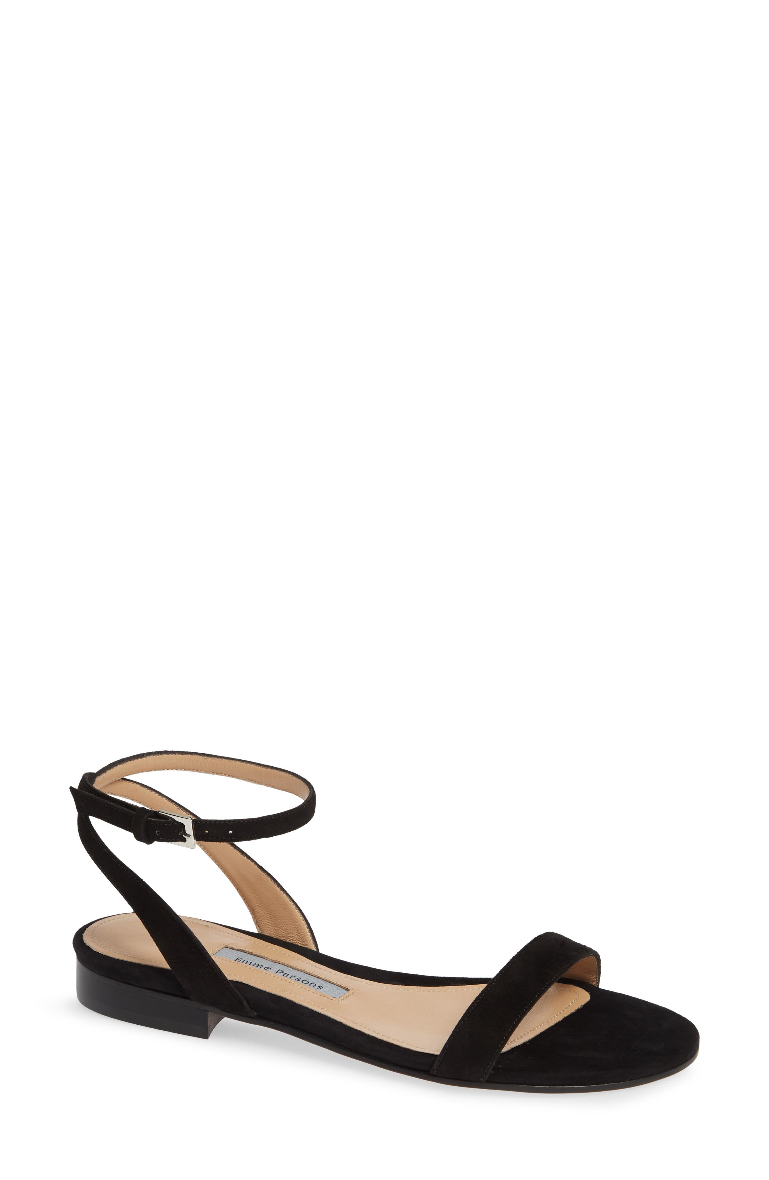 EMME PARSONS, One Ankle Strap Flat Sandal, Main thumbnail 1, color, BLACK