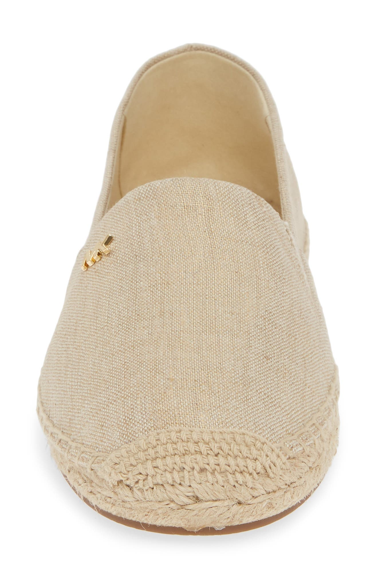 MICHAEL MICHAEL KORS, 'Kendrick' Slip-On Espadrille Flat, Alternate thumbnail 4, color, PALE GOLD FABRIC