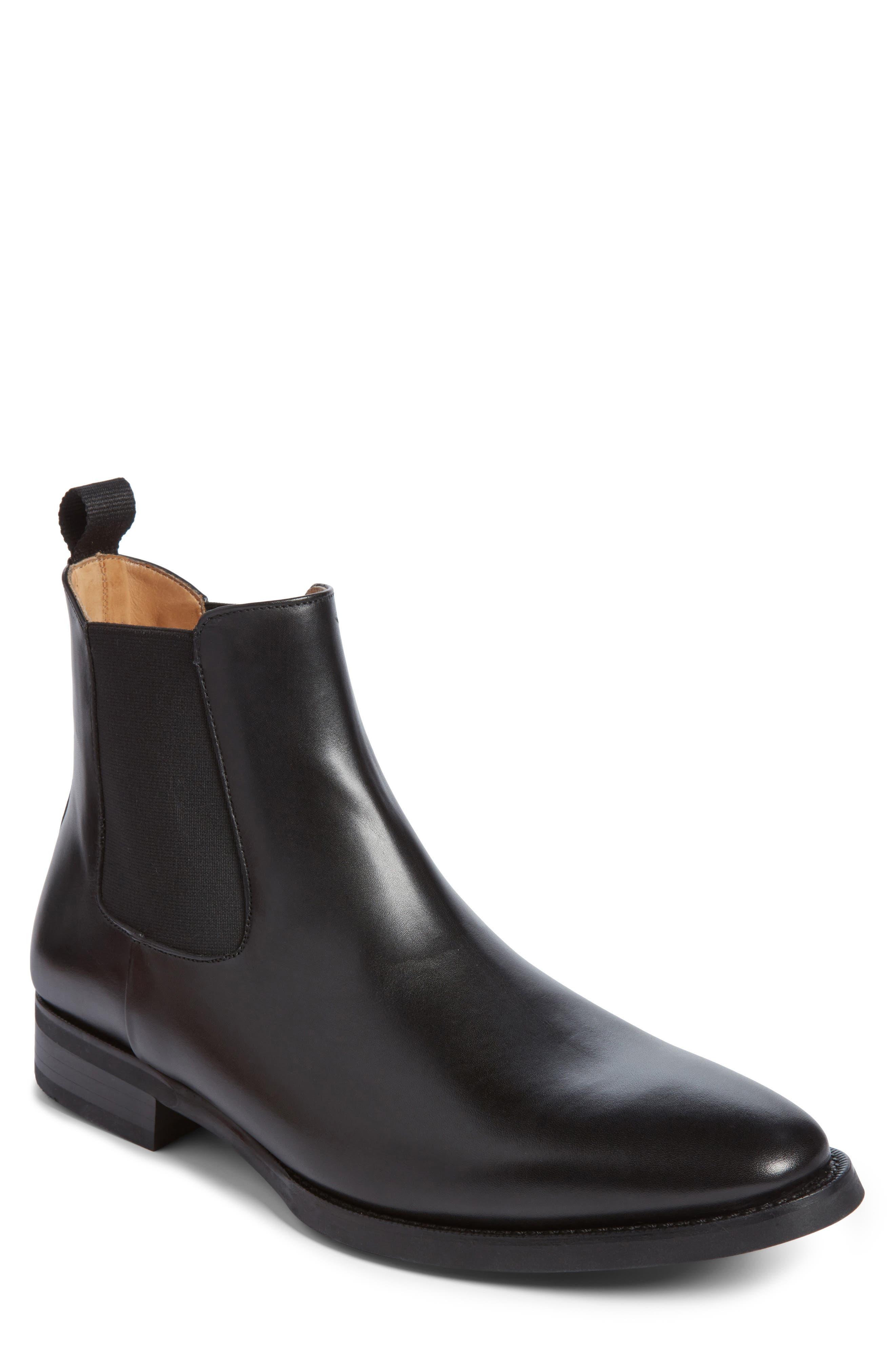 JACK ERWIN, Ellis Water Resistant Chelsea Boot, Main thumbnail 1, color, BLACK LEATHER