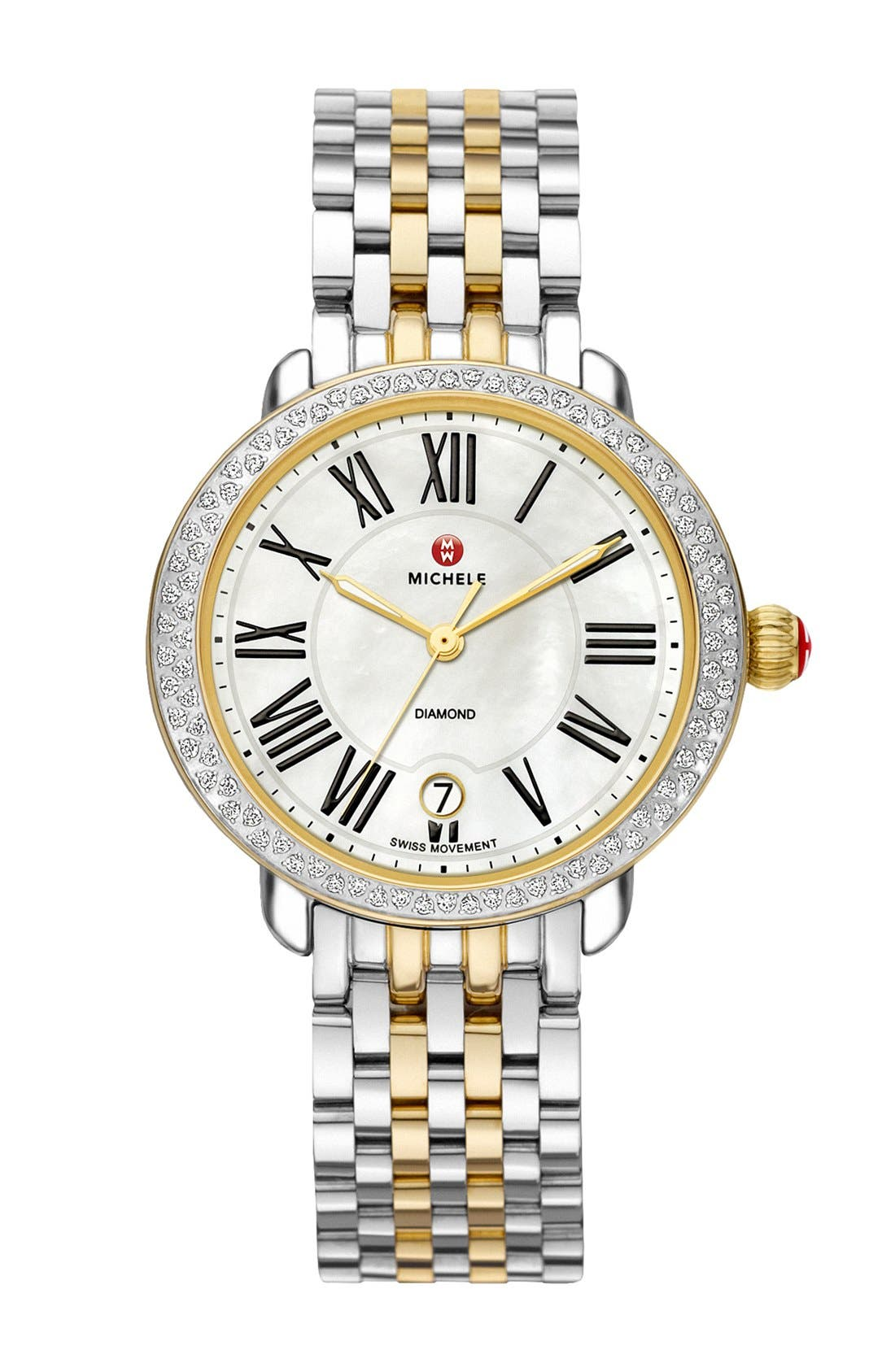 MICHELE, Serein 16 16mm Two-Tone Bracelet Watchband, Alternate thumbnail 4, color, SILVER/ GOLD