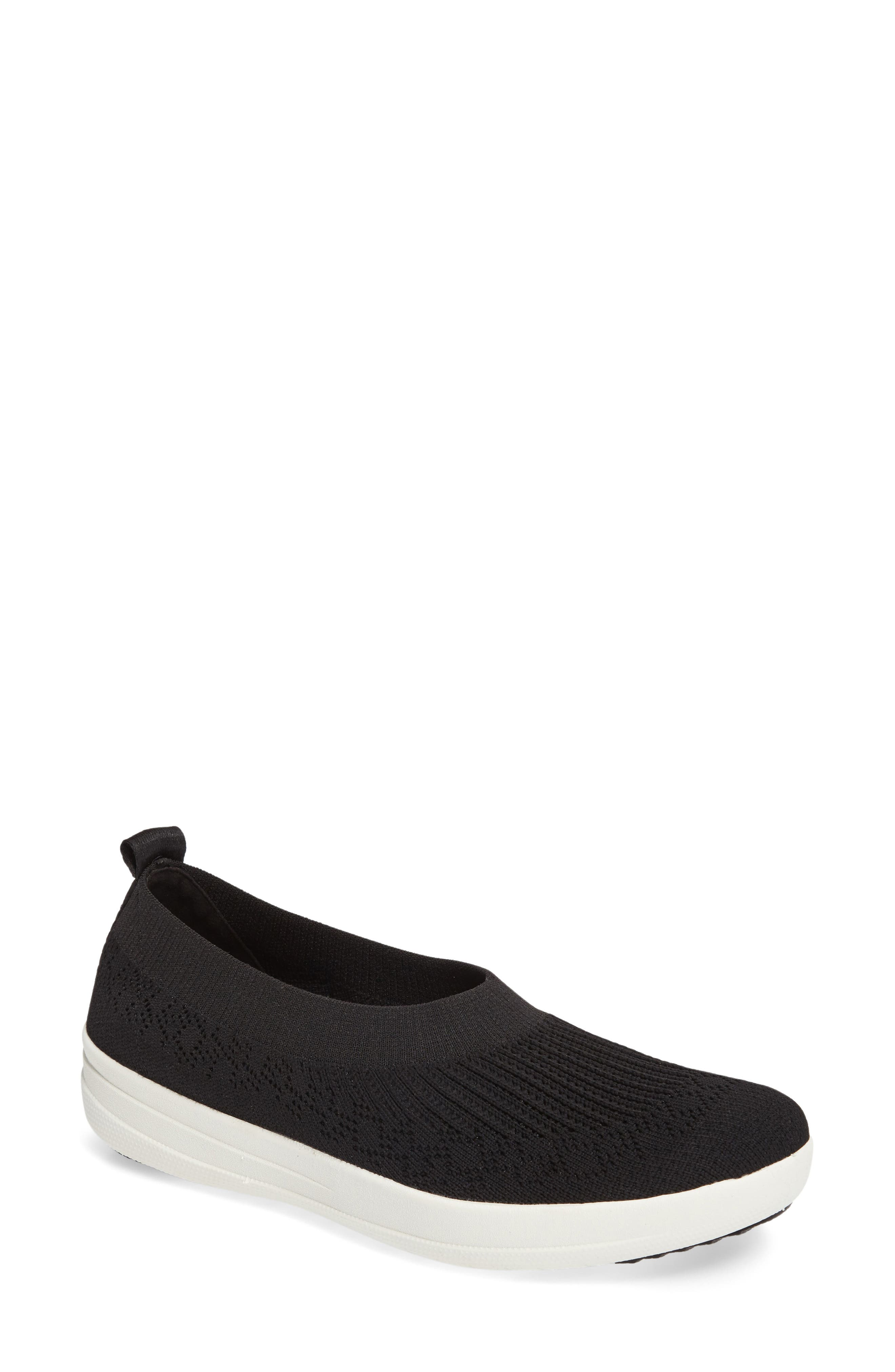 FITFLOP Uberknit Slip-On Sneaker, Main, color, BLACK FABRIC