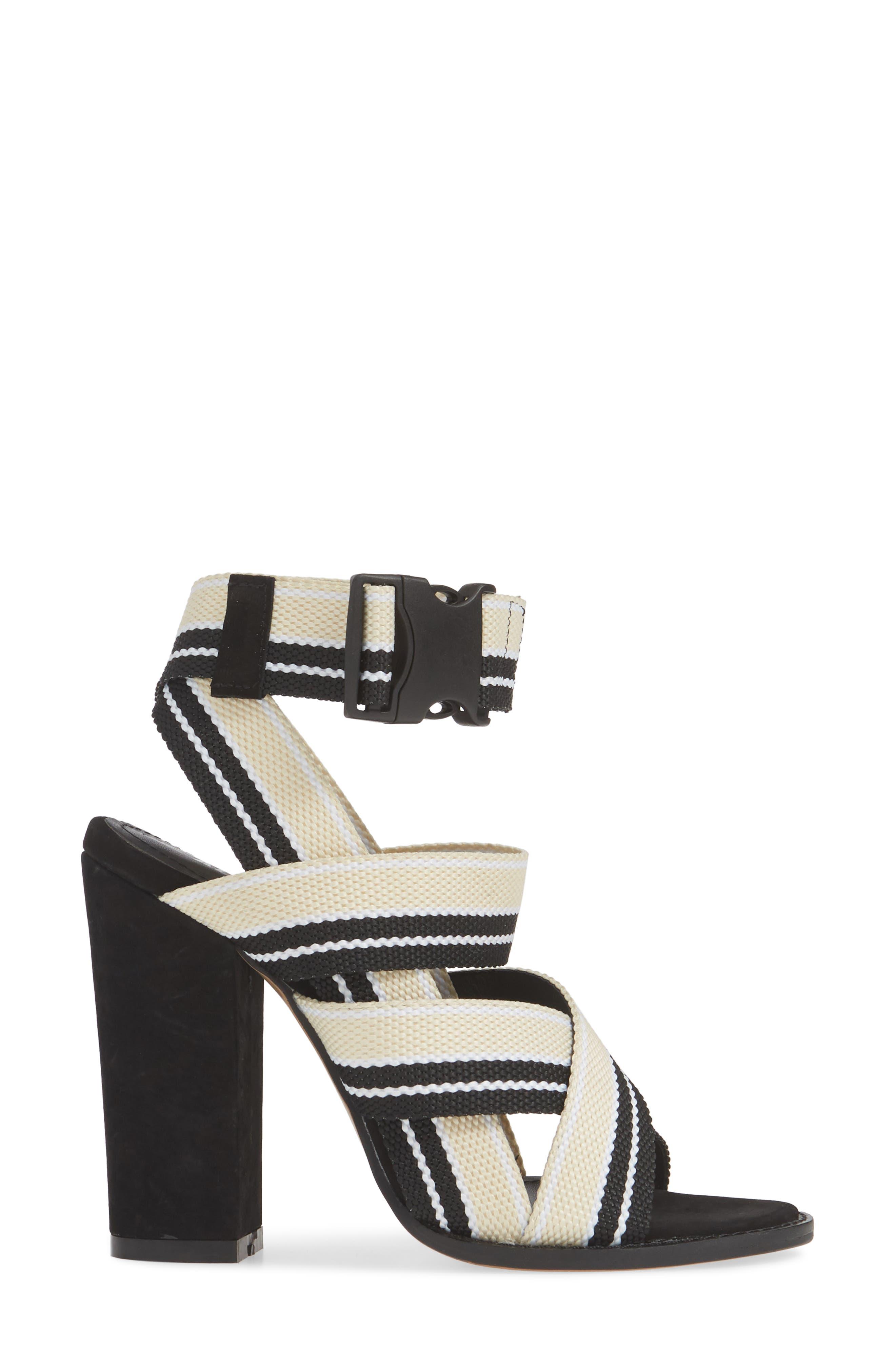 ALIAS MAE, Woven Strappy Sandal, Alternate thumbnail 3, color, NUDE/ BLACK FABRIC