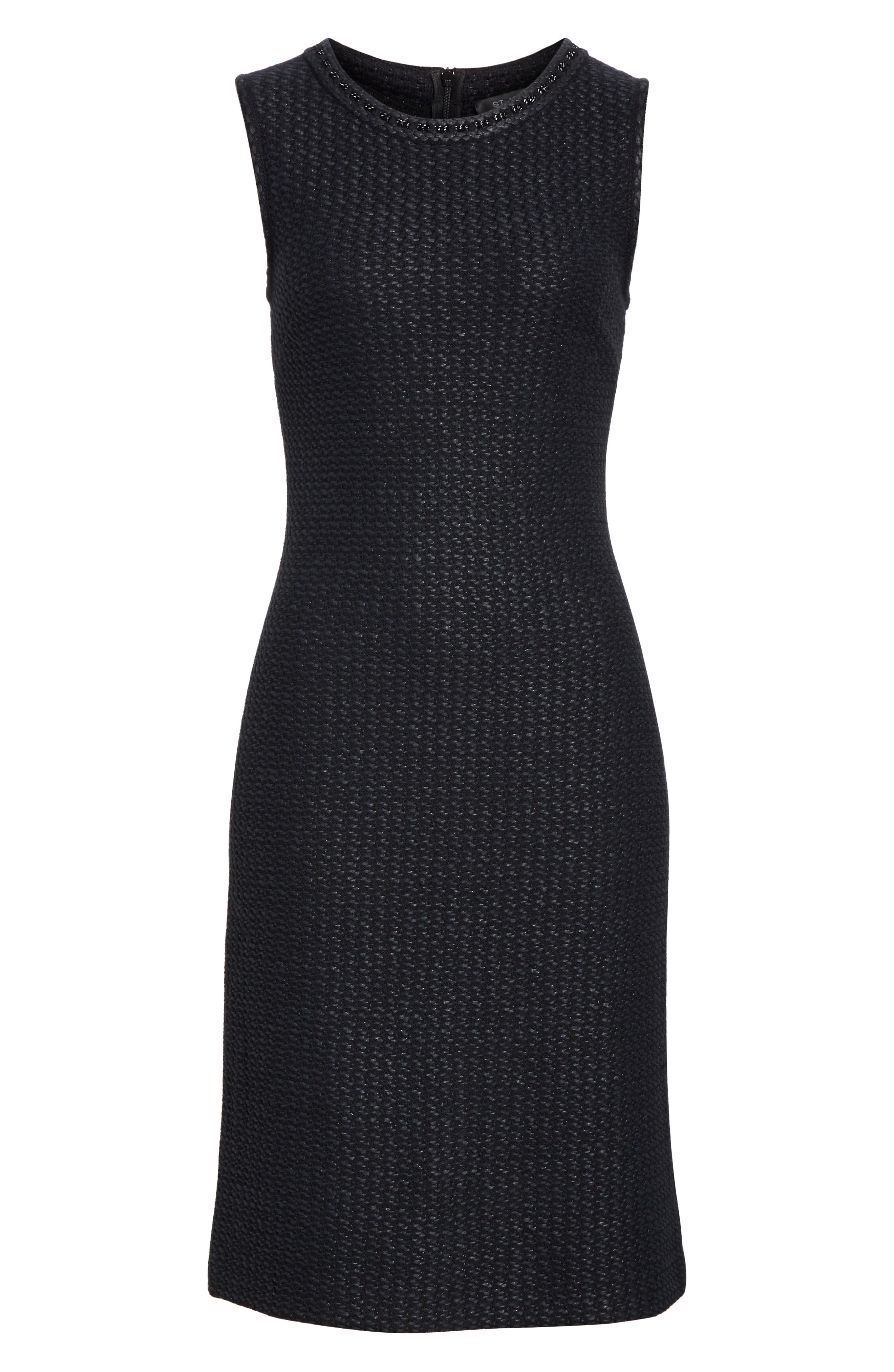 ST. JOHN COLLECTION, Adina Chain Trim Knit Dress, Alternate thumbnail 7, color, CAVIAR
