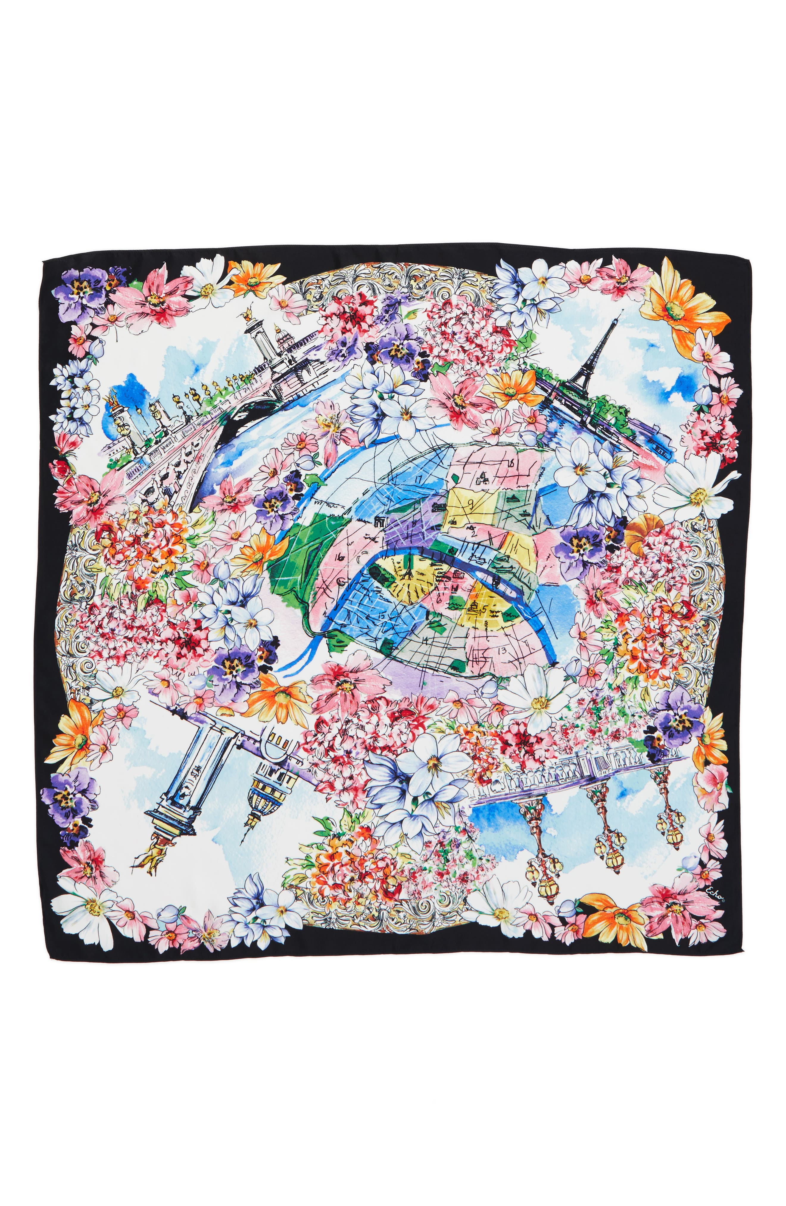 ECHO, Paris in the Spring Silk Square Scarf, Alternate thumbnail 2, color, 001