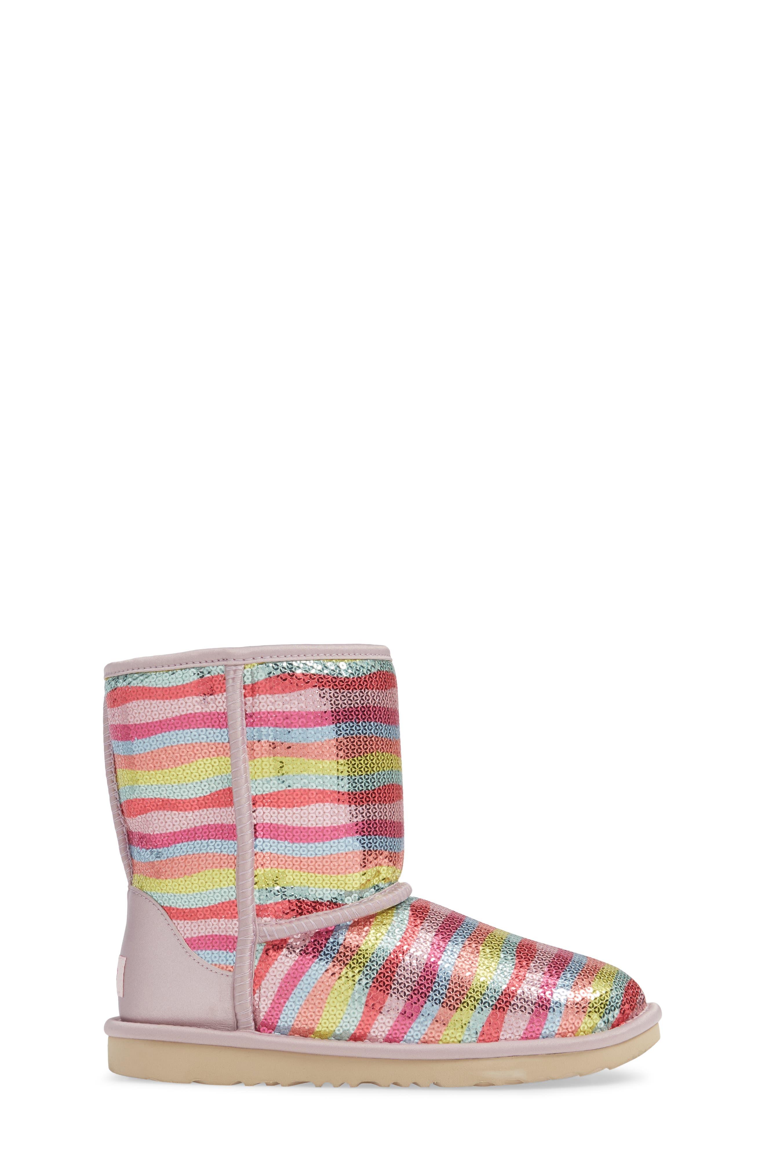 UGG<SUP>®</SUP>, Rainbow Classic Short II Sequin Stripe Boot, Alternate thumbnail 3, color, RAINBOW MULTI