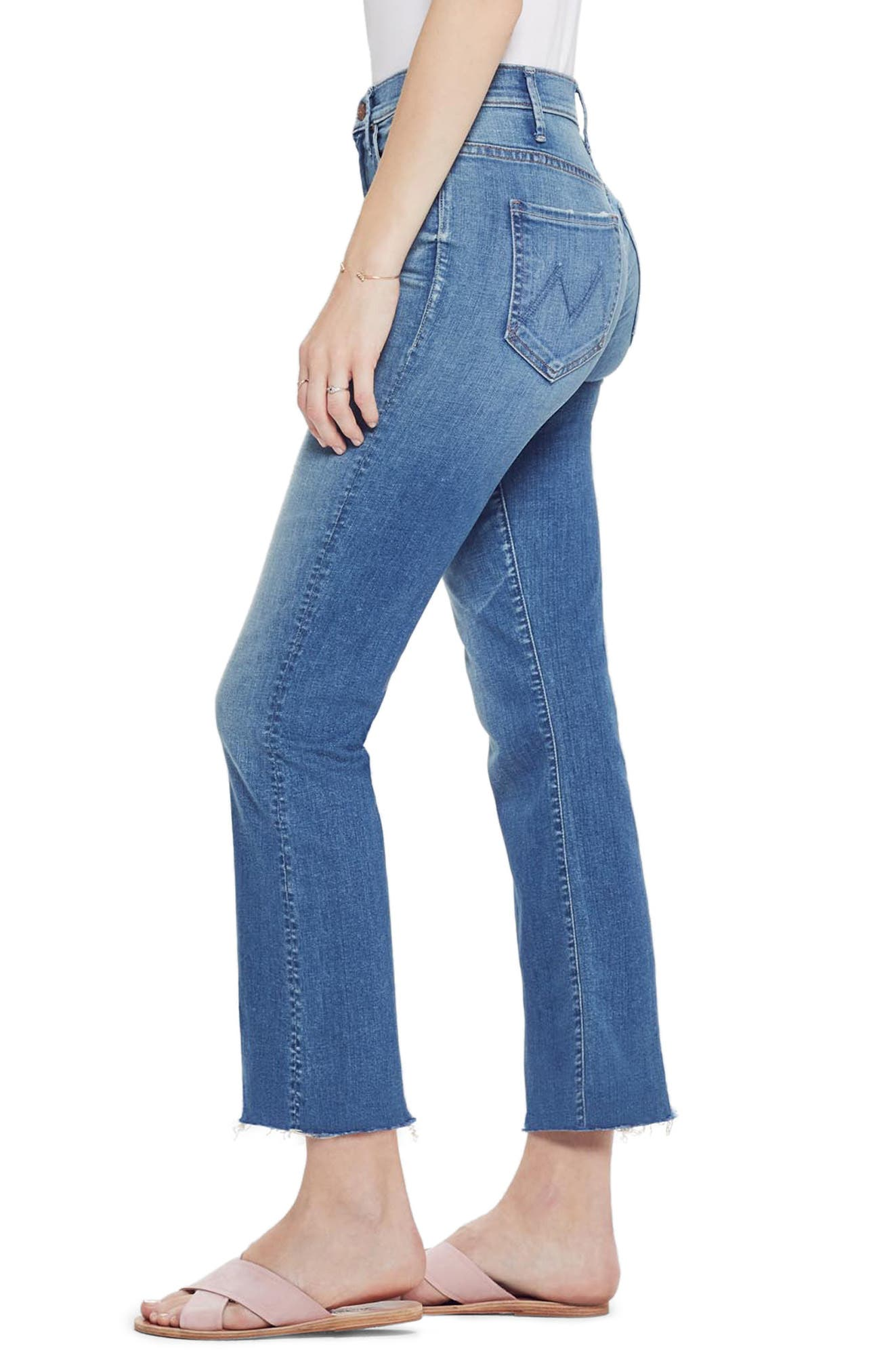 MOTHER, The Hustler High Waist Ankle Flare Jeans, Alternate thumbnail 4, color, WISHFUL DRINKING