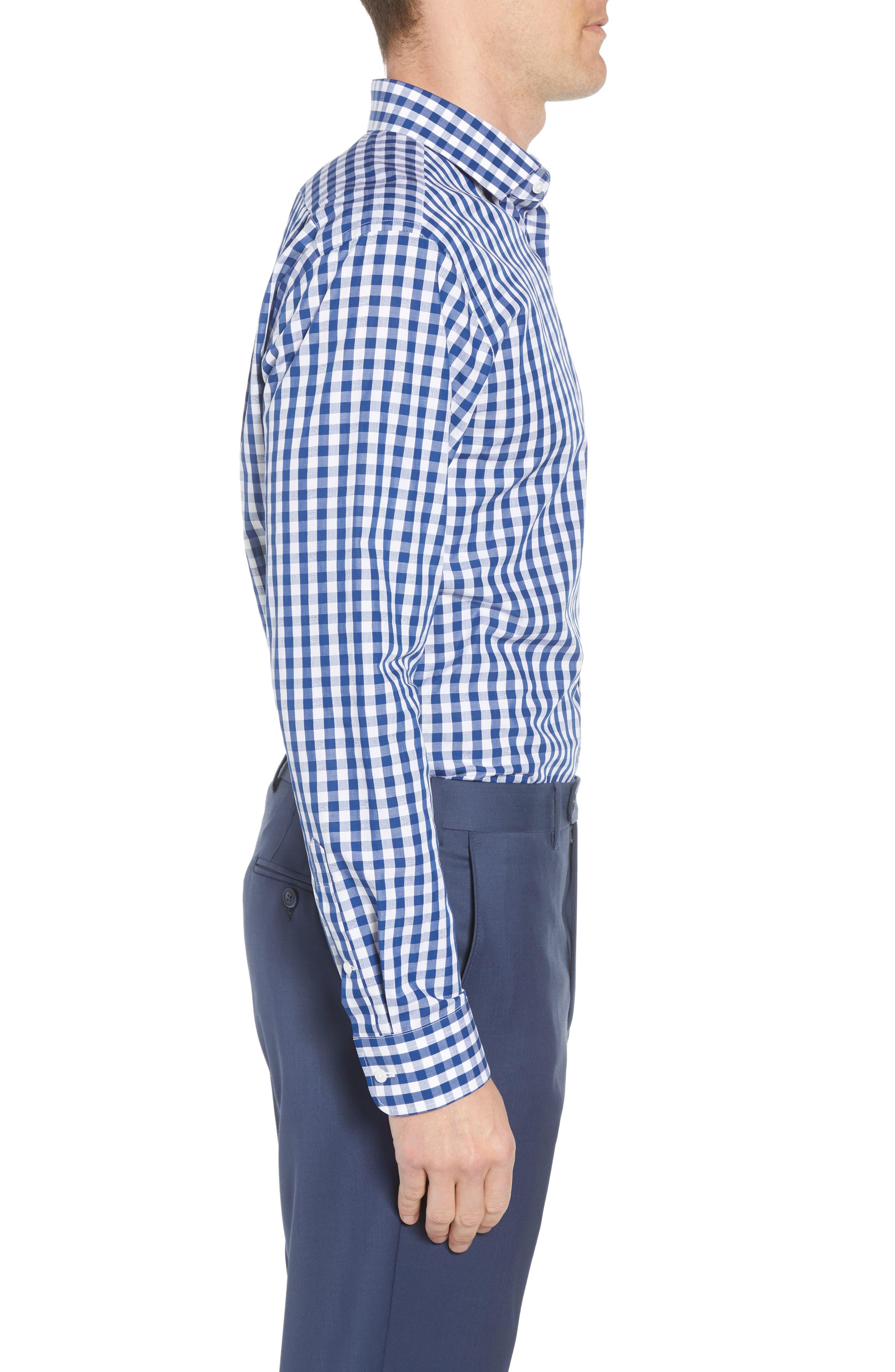 1901, Trim Fit Check Dress Shirt, Alternate thumbnail 4, color, BLUE CASPIA