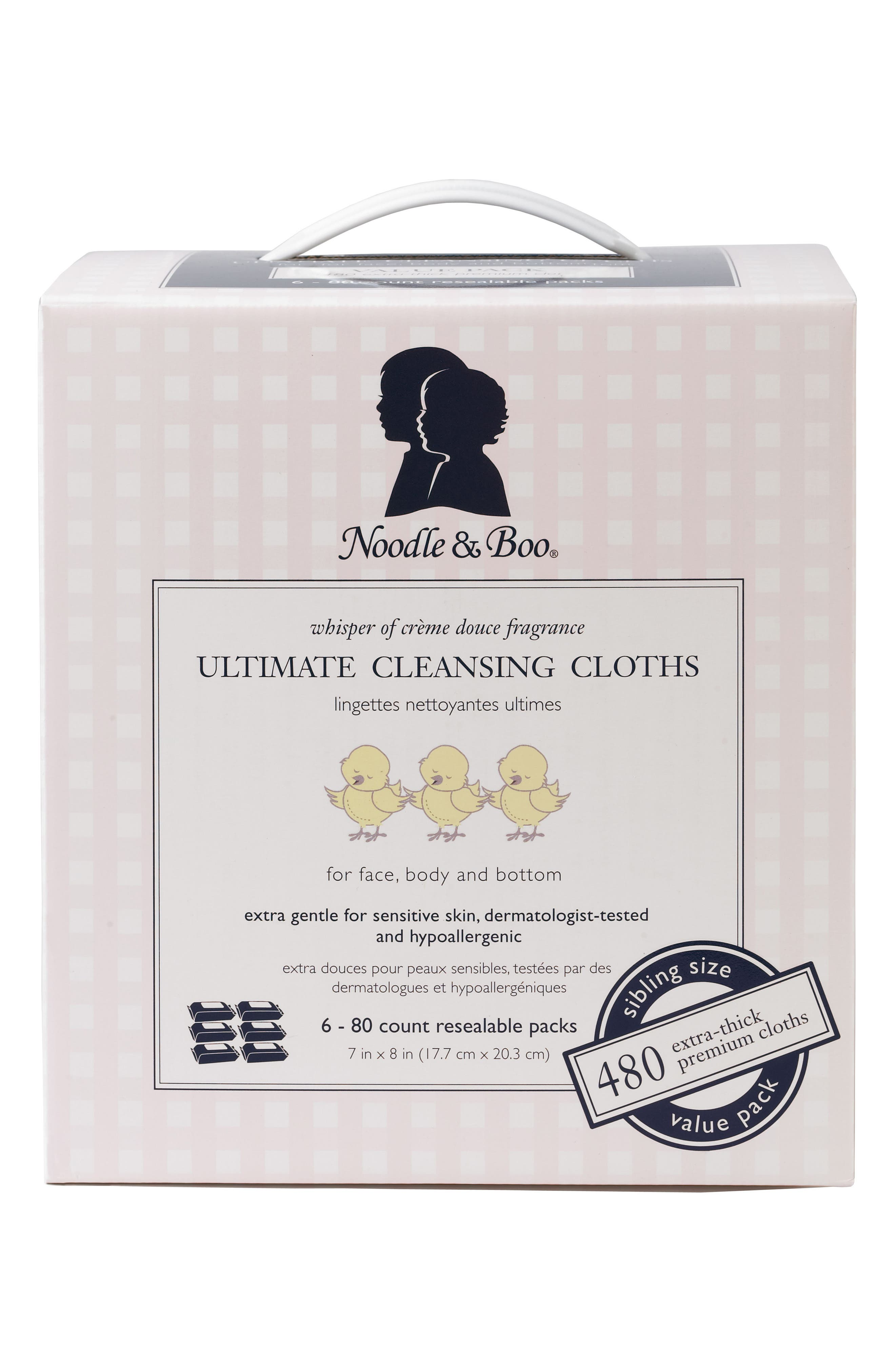 NOODLE & BOO, 6-Pack Ultimate Cleansing Cloths, Alternate thumbnail 3, color, WHITE