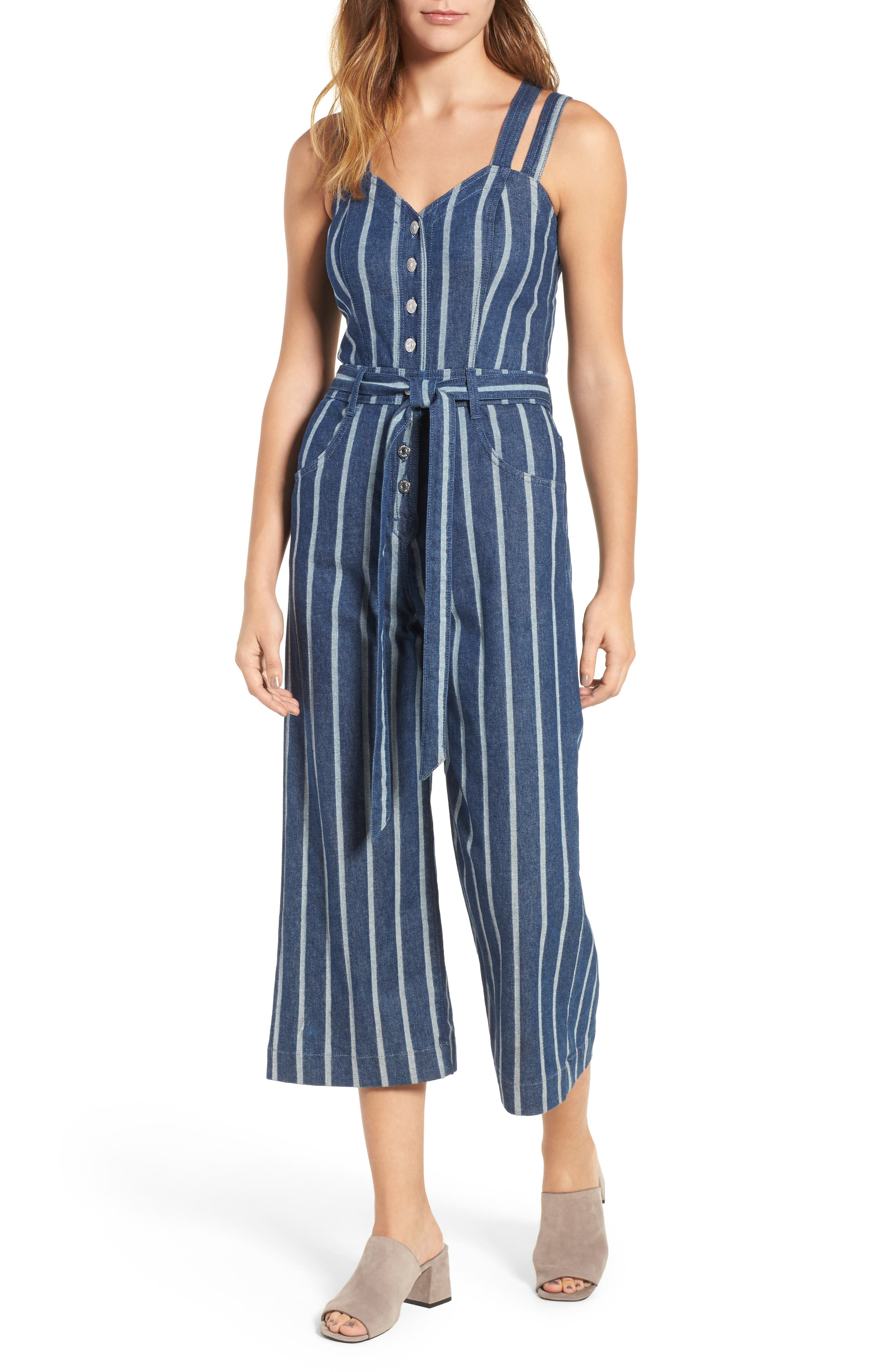 7 FOR ALL MANKIND<SUP>®</SUP> Denim Culotte Jumpsuit, Main, color, 400