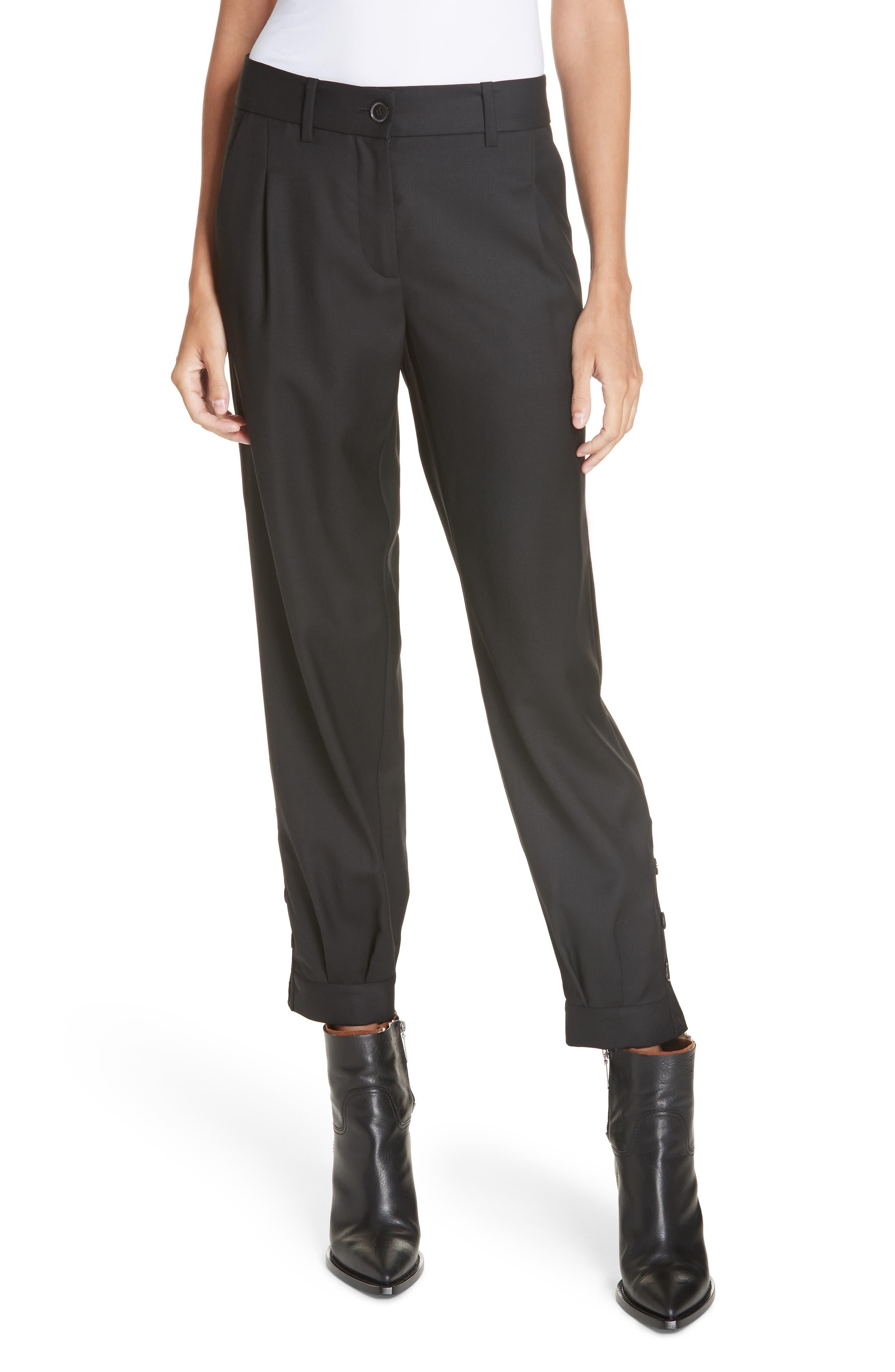 NILI LOTAN Bertina Pleated Wool Crop Pants, Main, color, BLACK