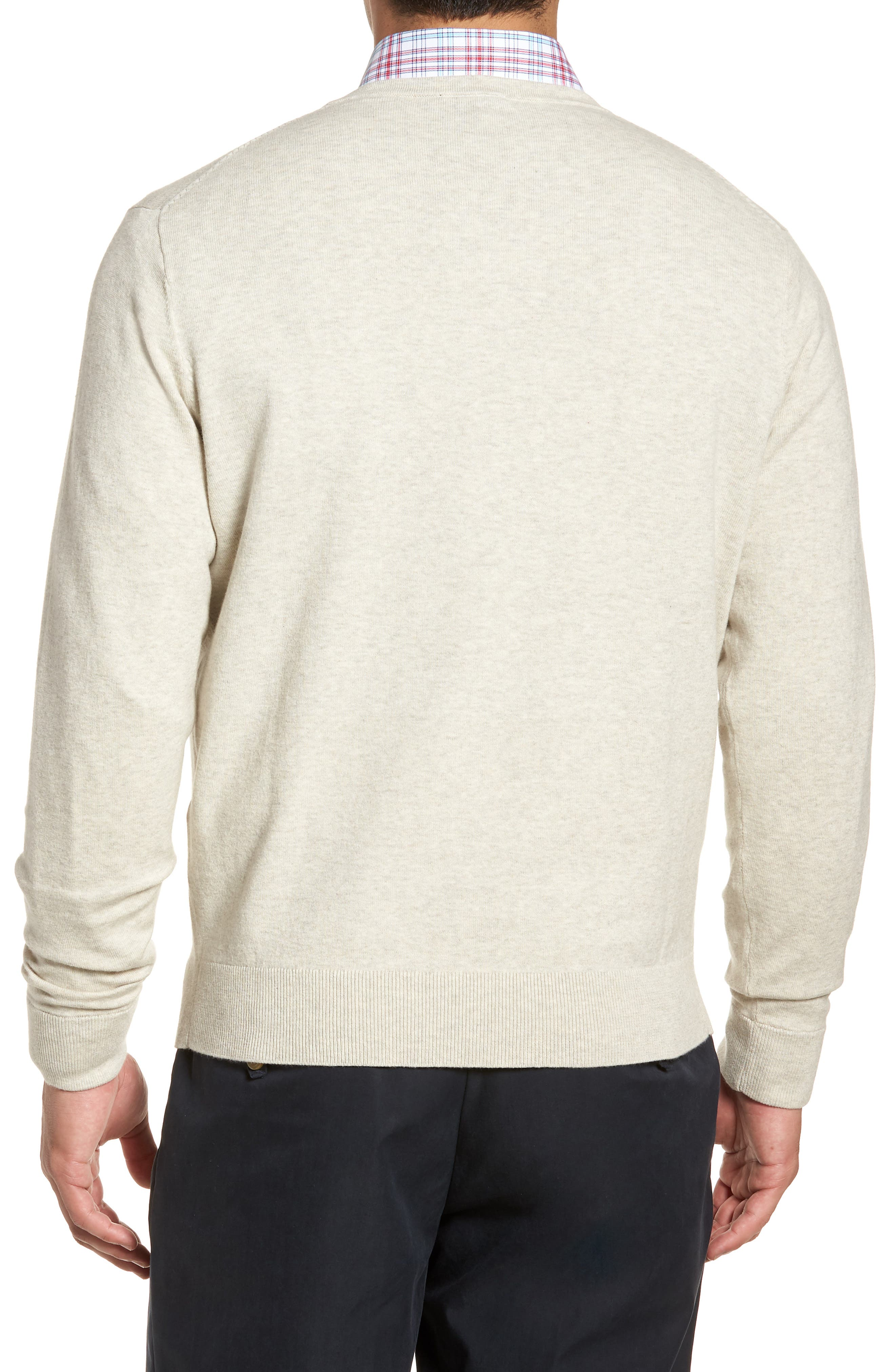 CUTTER & BUCK, Lakemont Classic Fit V-Neck Sweater, Alternate thumbnail 2, color, OATMEAL HEATHER