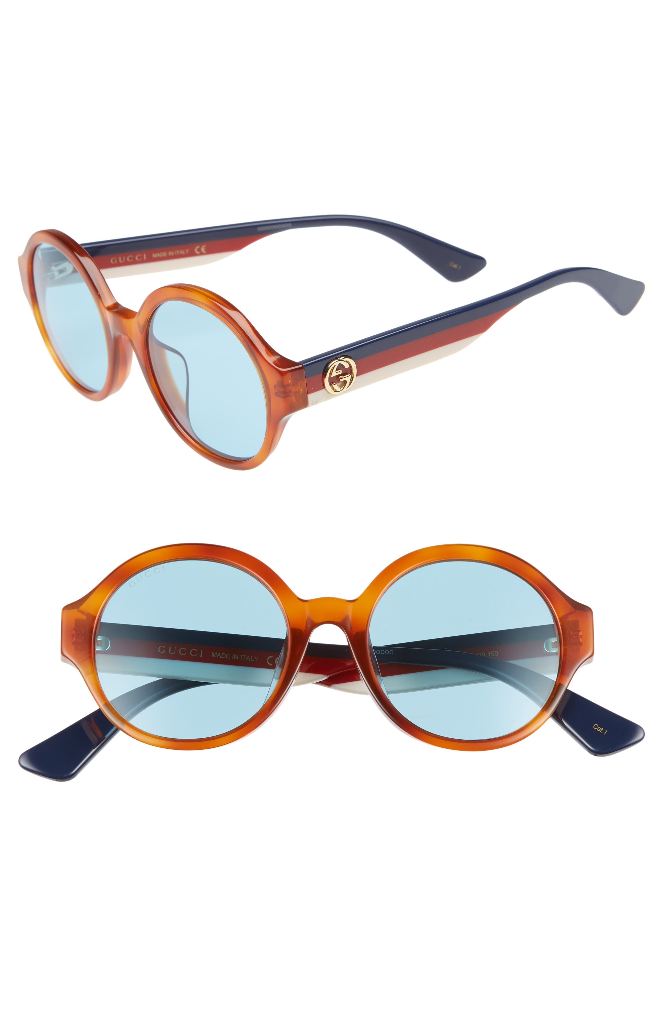 GUCCI 51mm Round Sunglasses, Main, color, HAVANA