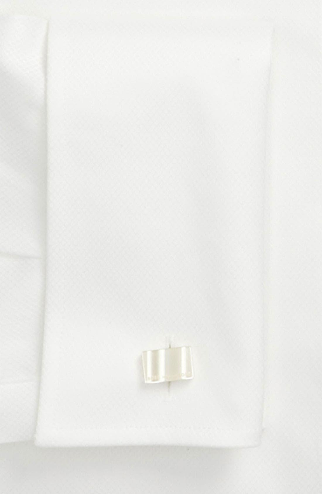BOSS, Jameson Slim Fit Diamond Weave French Cuff Tuxedo Shirt, Alternate thumbnail 3, color, 120