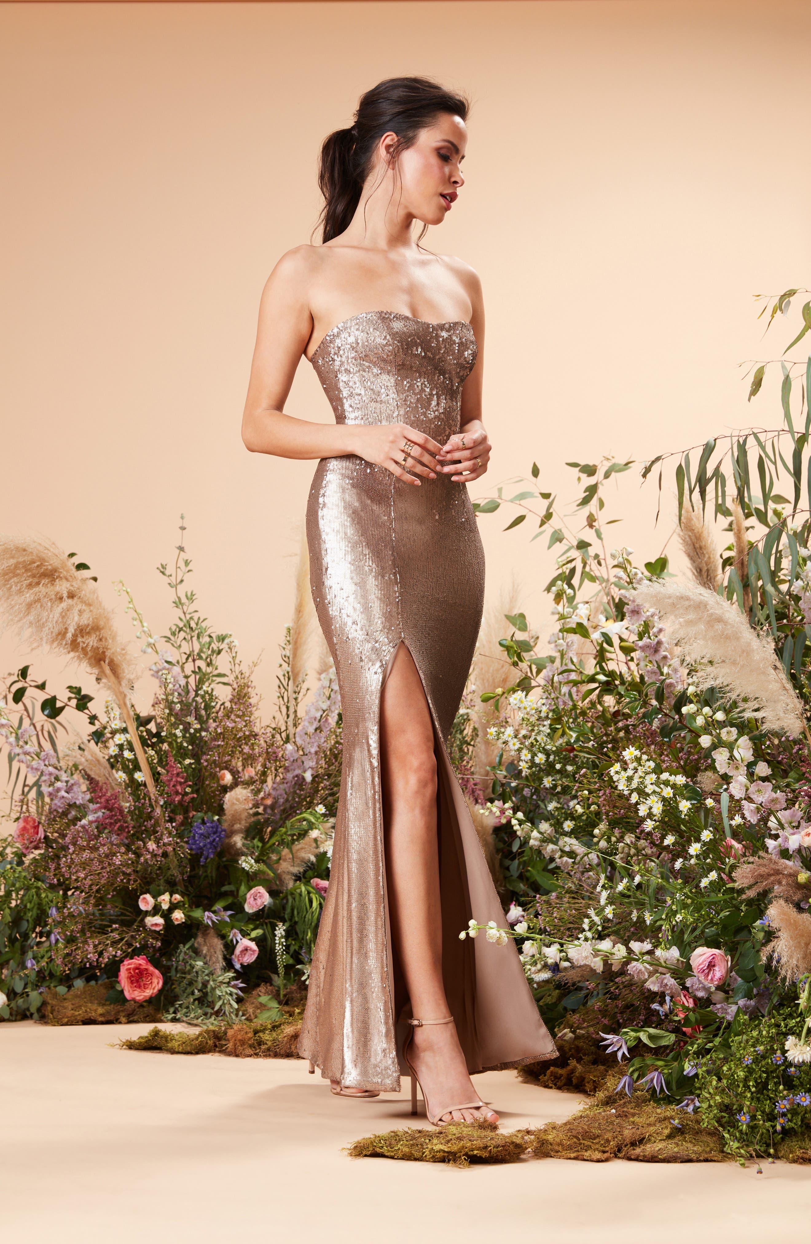 DRESS THE POPULATION, Ellen Strapless Sequin Evening Dress, Alternate thumbnail 6, color, BRONZE