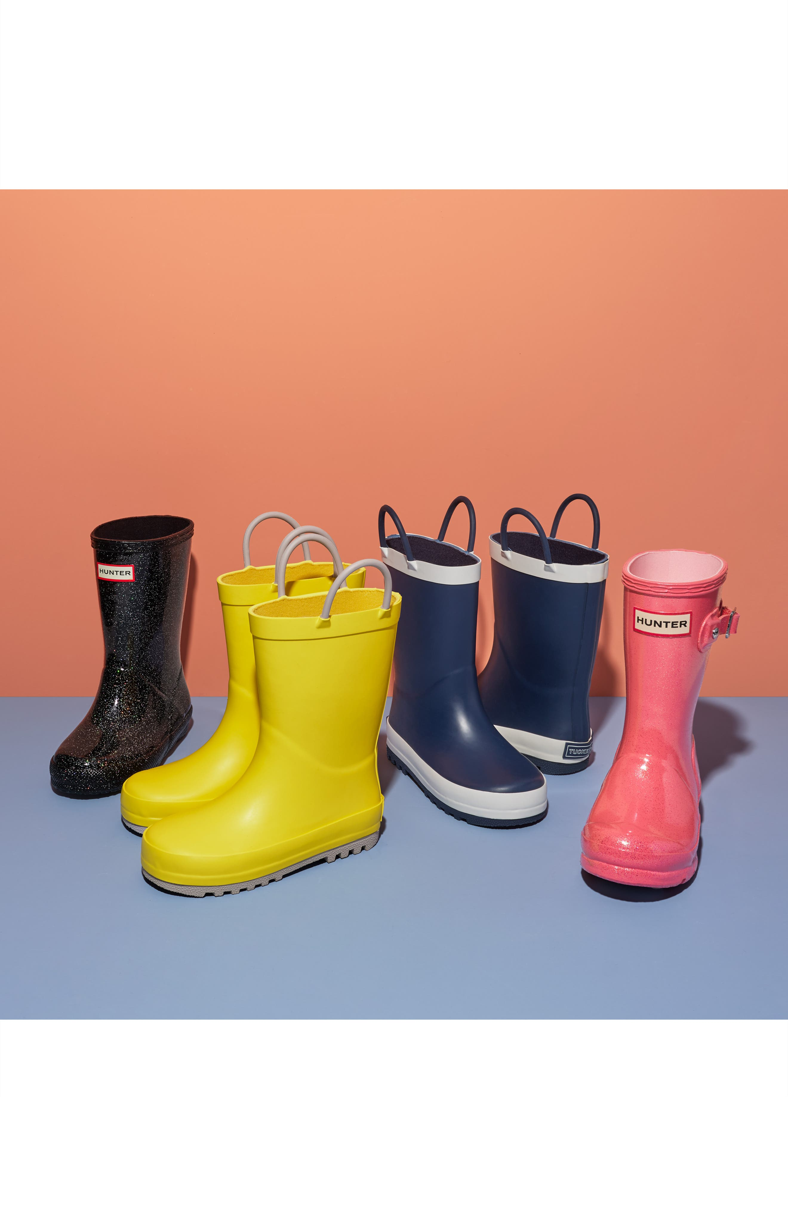 TUCKER + TATE, Puddle Rain Boot, Alternate thumbnail 7, color, YELLOW/ GREY RUBBER